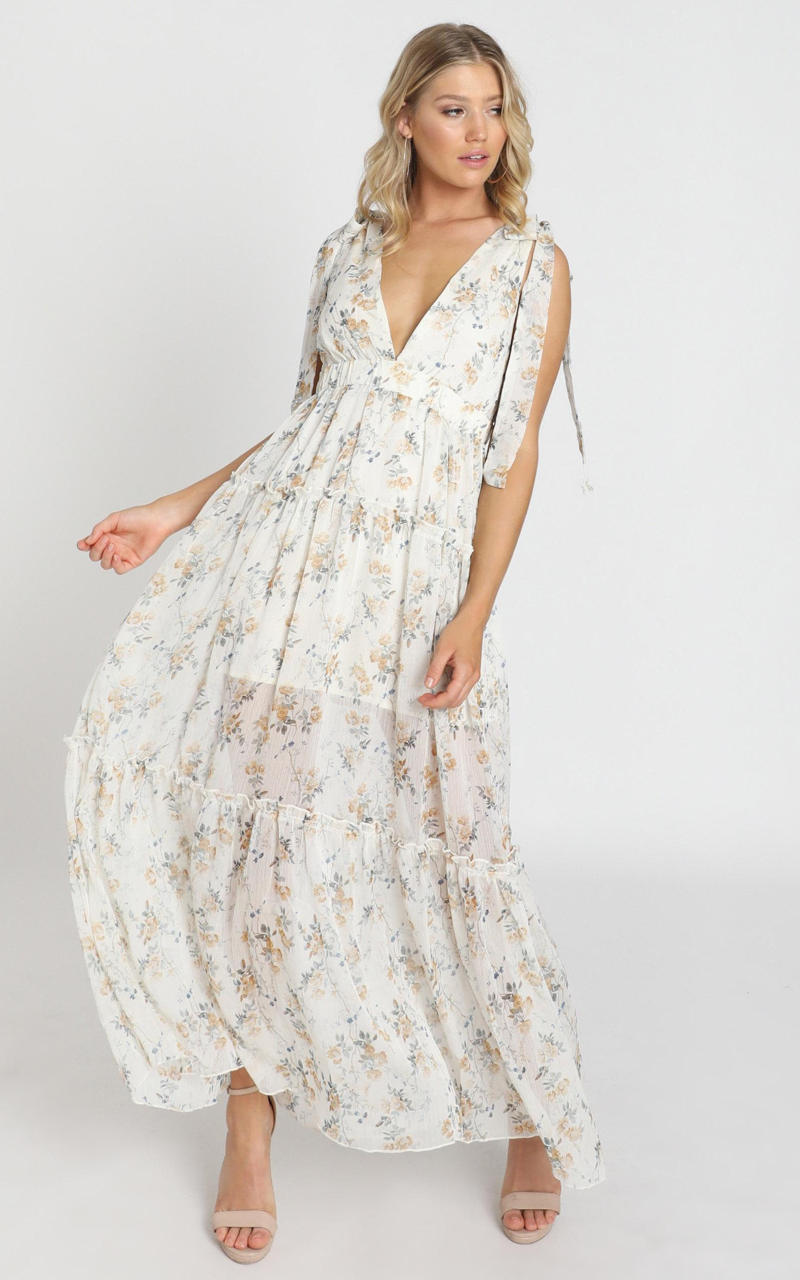 Indra Dress in cream floral - 8 (S), Cream, hi-res image number null