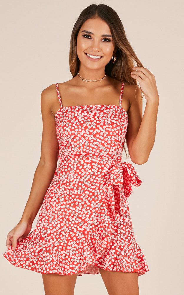Dont Look Down dress in red floral - 14 (XL), Red, hi-res image number null