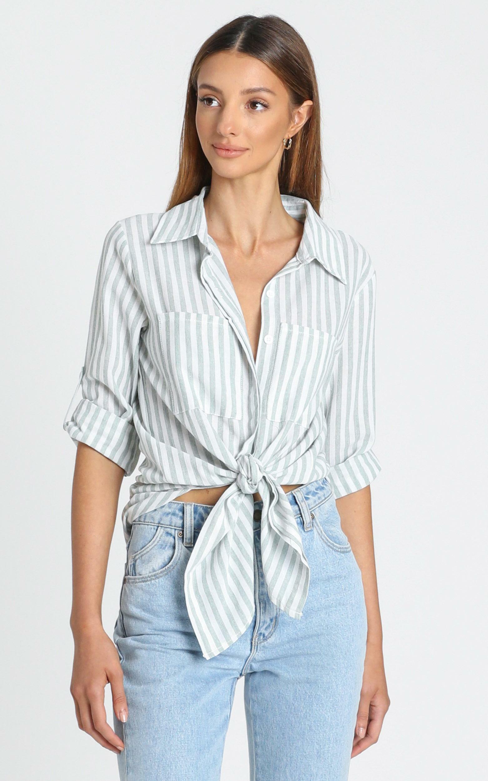 Paris Shirt in Sage Stripe - 8 (S), Sage, hi-res image number null