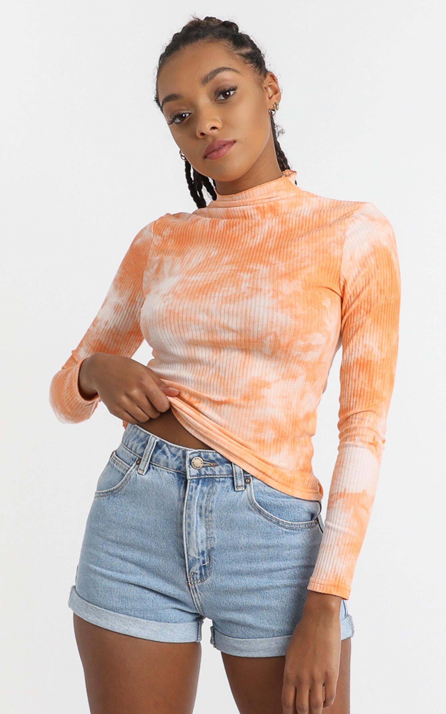 Emmie Top in Mango Tie Dye - 6 (XS), Orange, hi-res image number null