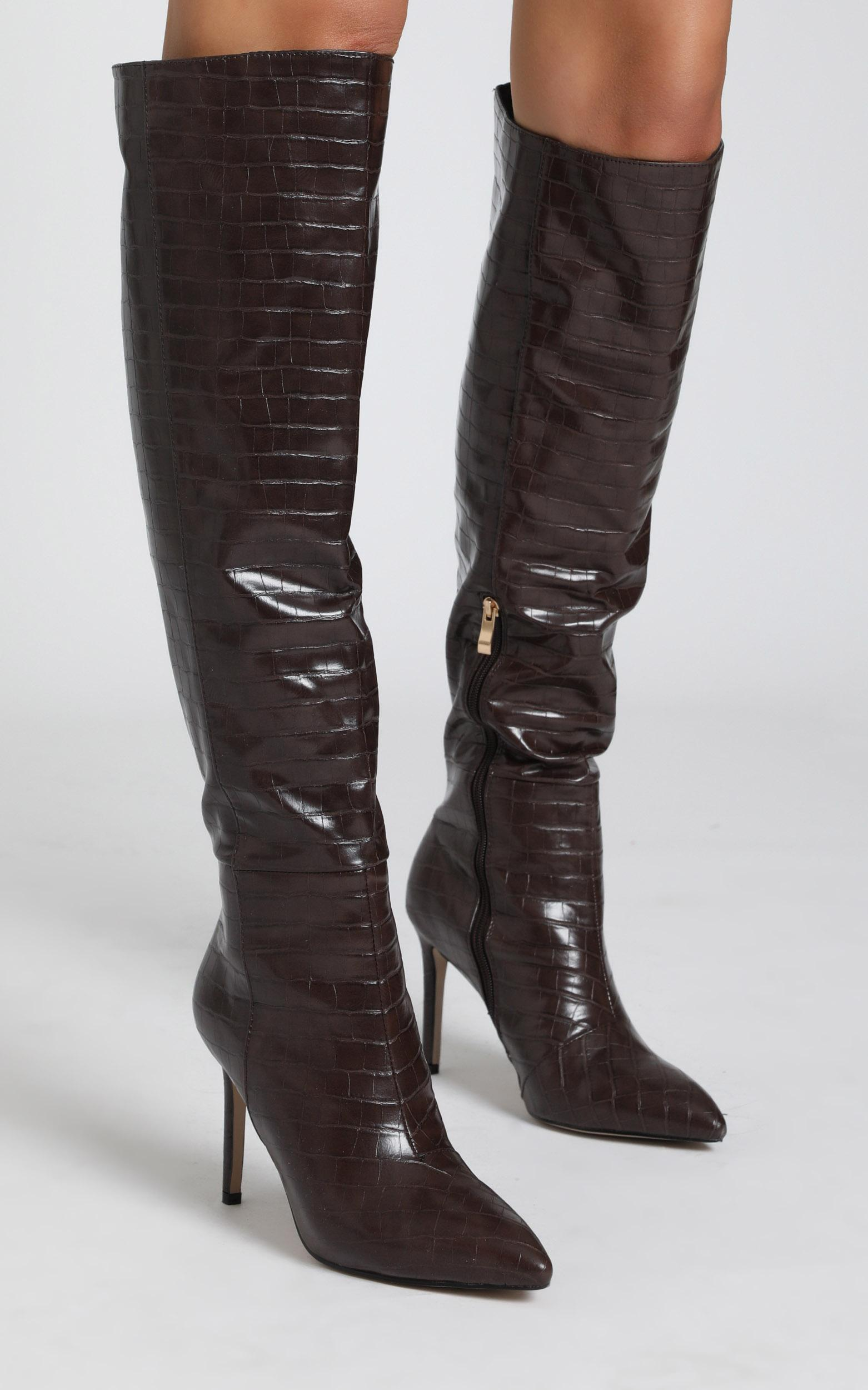 Billini - Naveen Boots in chocolate croc - 5, Brown, hi-res image number null