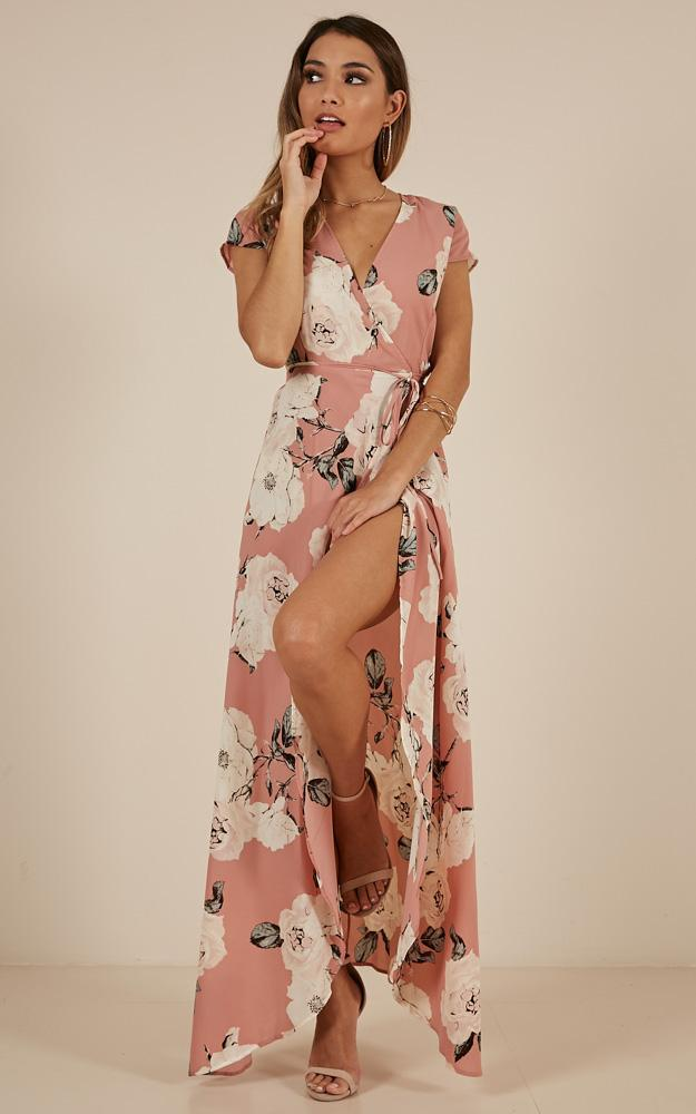 Wrap and Cross maxi dress in dusty pink floral - 18 (XXXL), Pink, hi-res image number null