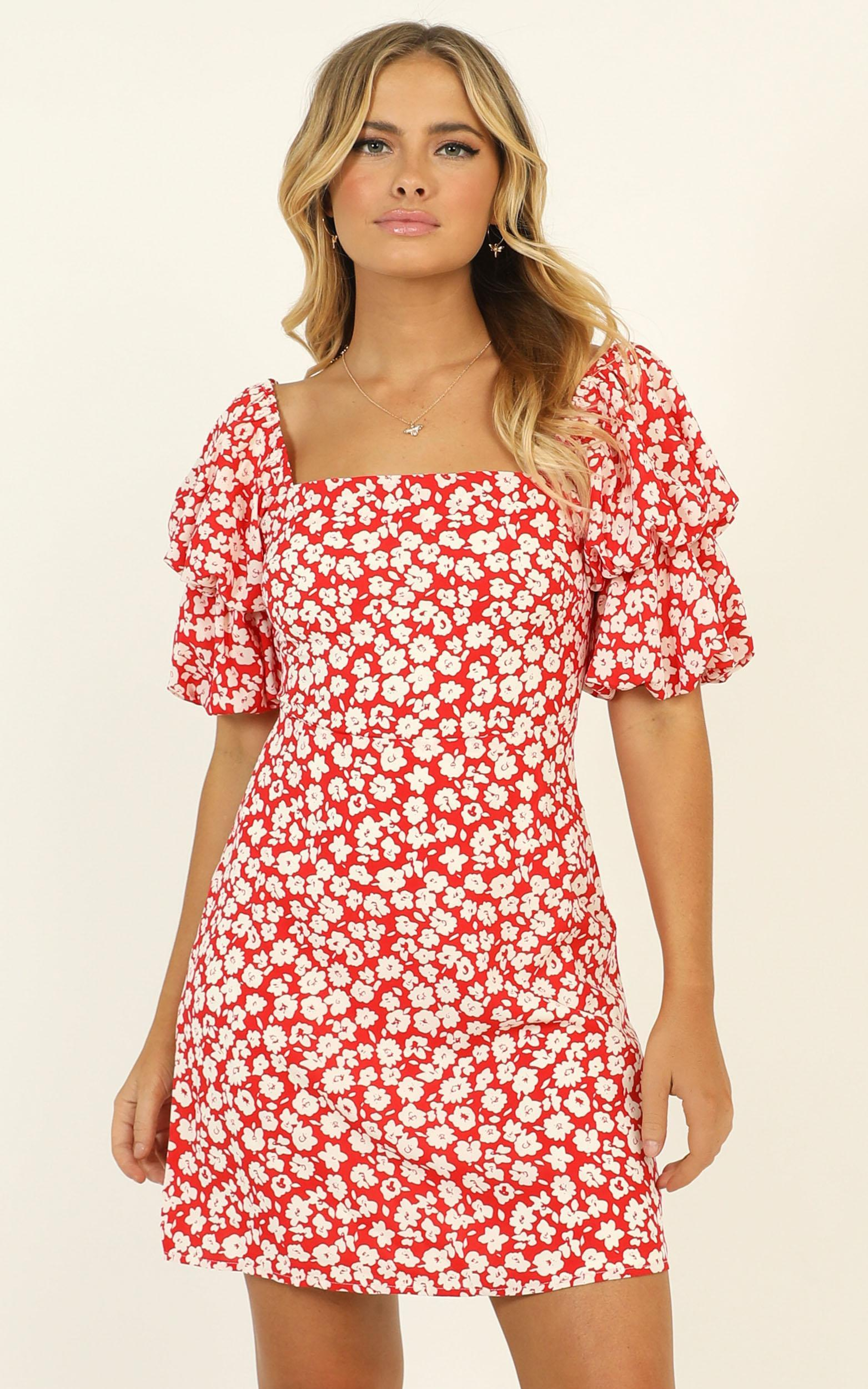 Parisian Spring dress in red floral - 12 (L), Red, hi-res image number null