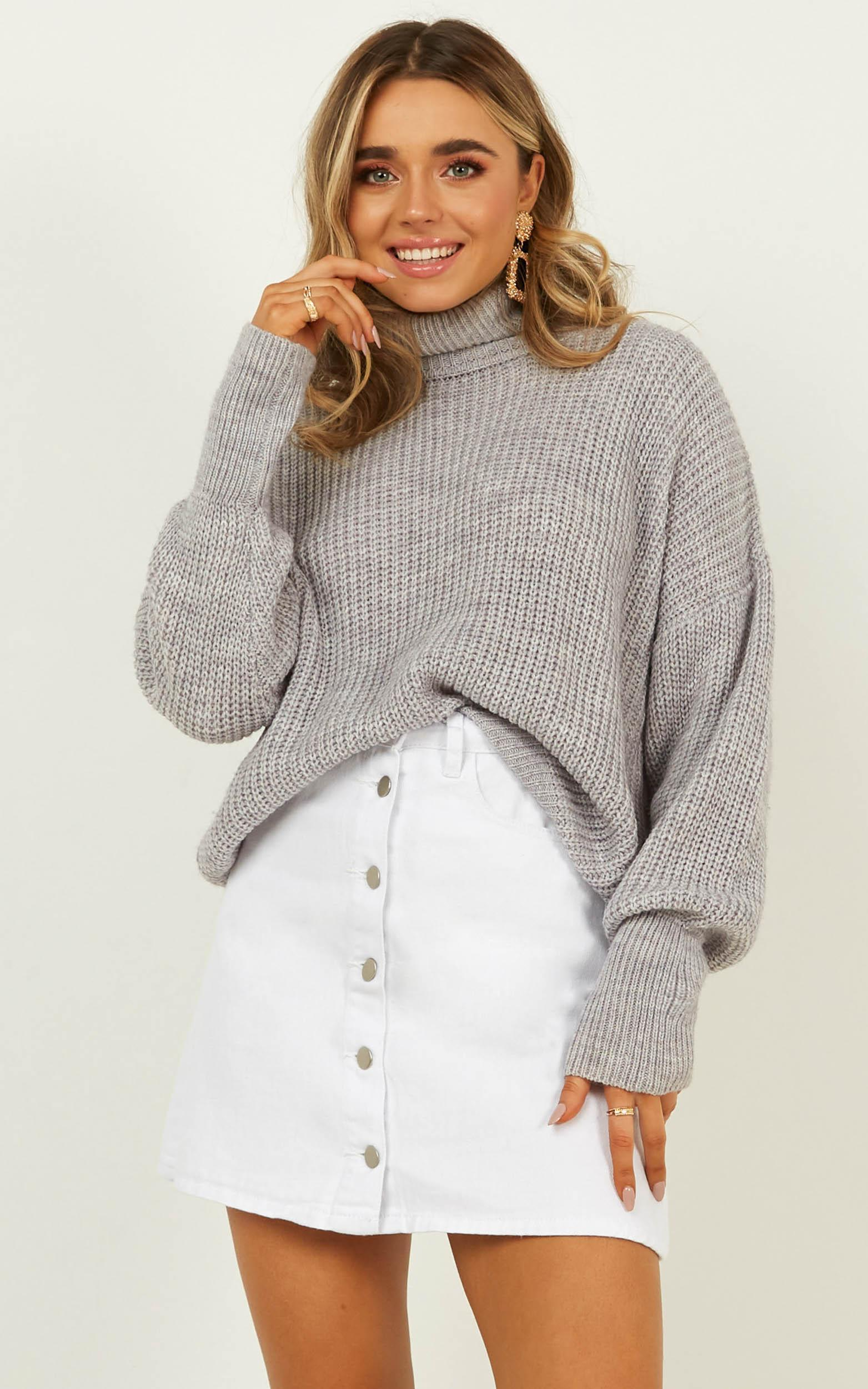Heads Up Knit Sweater in grey marle - 16 (XXL), Grey, hi-res image number null