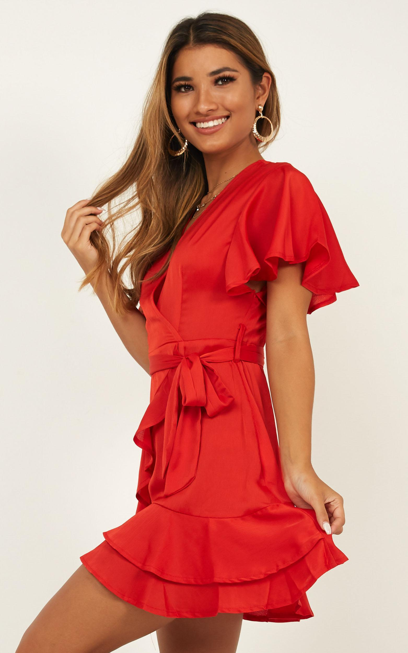 Thin Ice Dress in red satin - 12 (L), Red, hi-res image number null