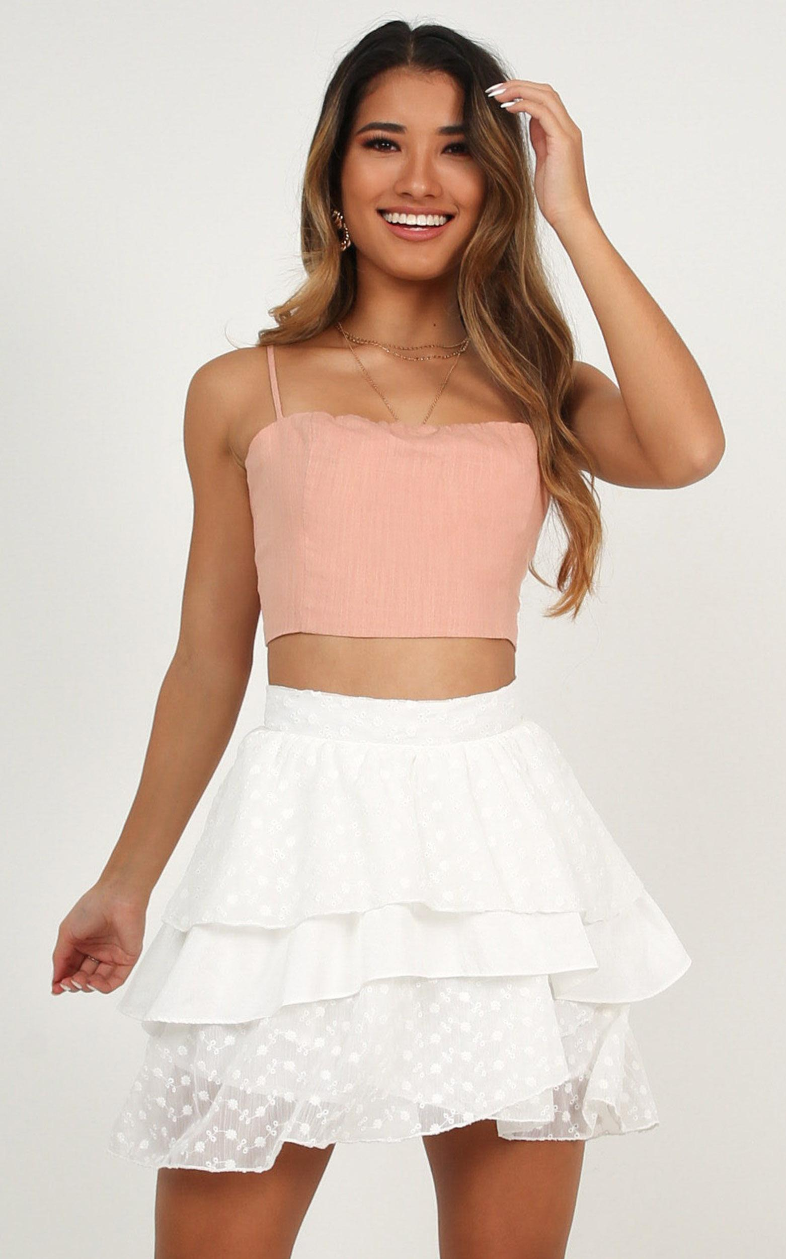 Ruffle and hustle skirt in white - 20 (XXXXL), White, hi-res image number null