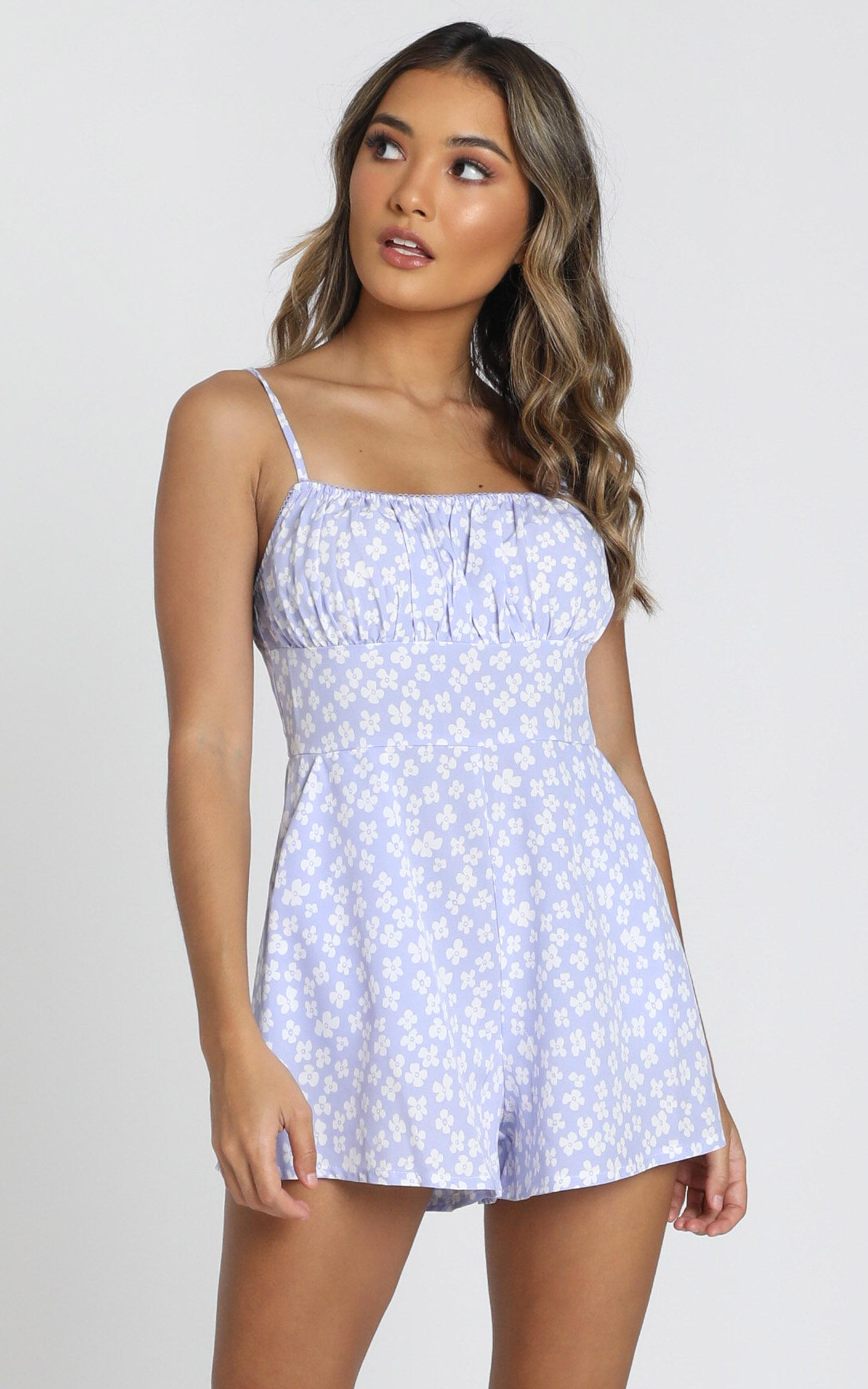 Sorbie Strappy Playsuit in blue floral - 6 (XS), Blue, hi-res image number null
