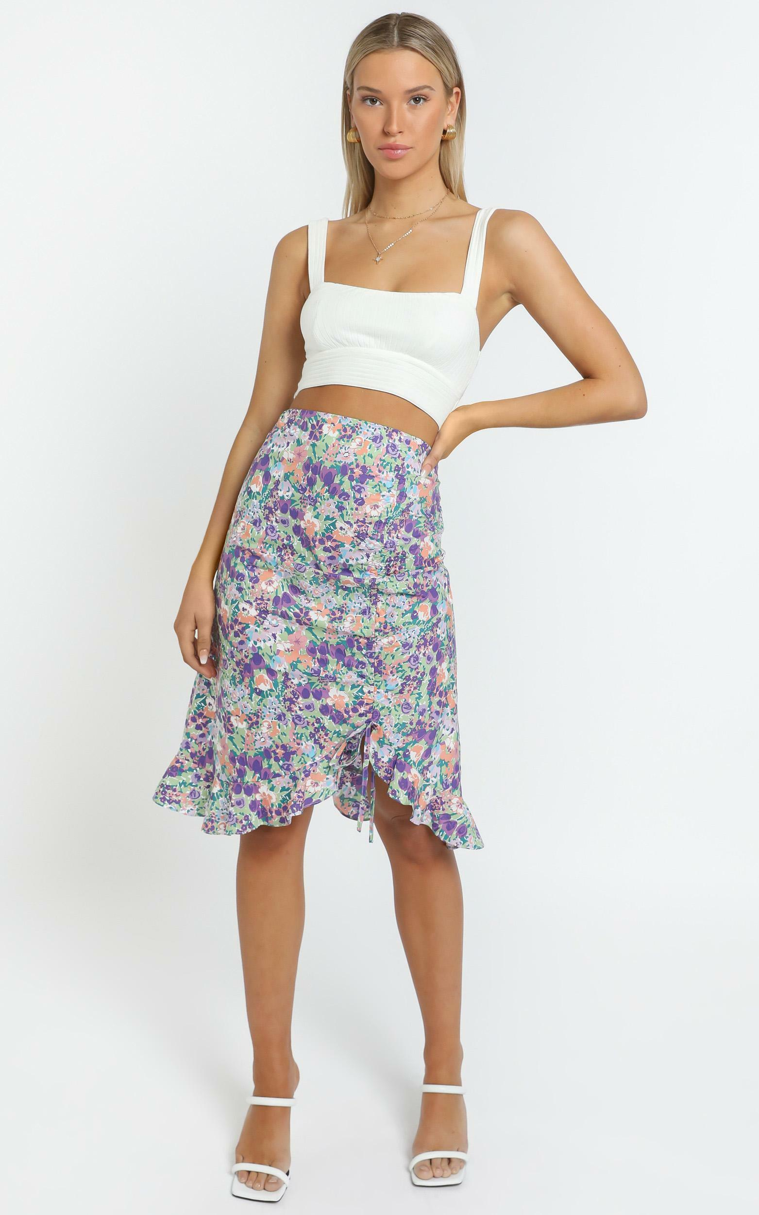Albany Skirt in Purple Floral - 14 (XL), Purple, hi-res image number null