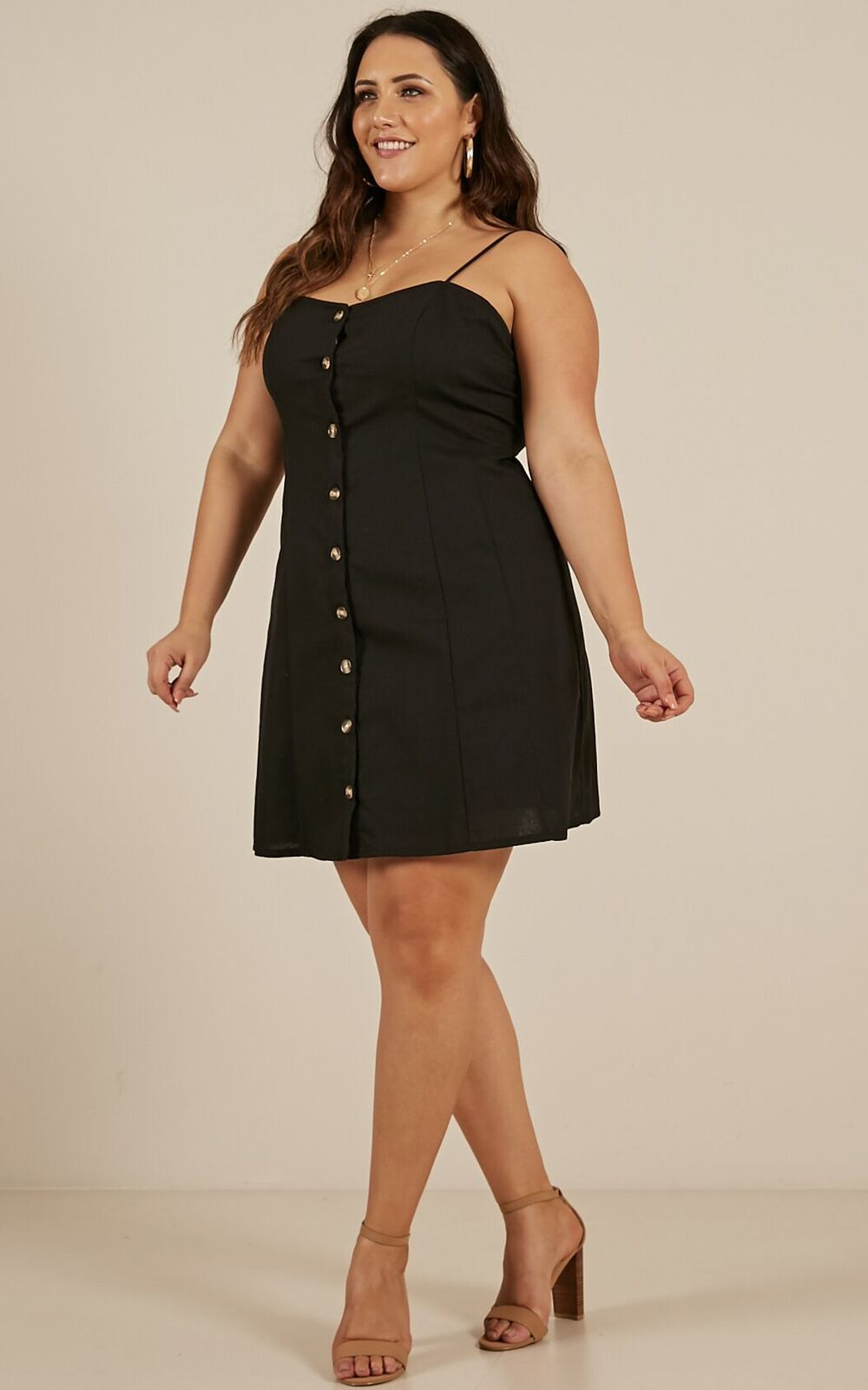 City Girl dress in black Linen Look - 6 (XS), Black, hi-res image number null