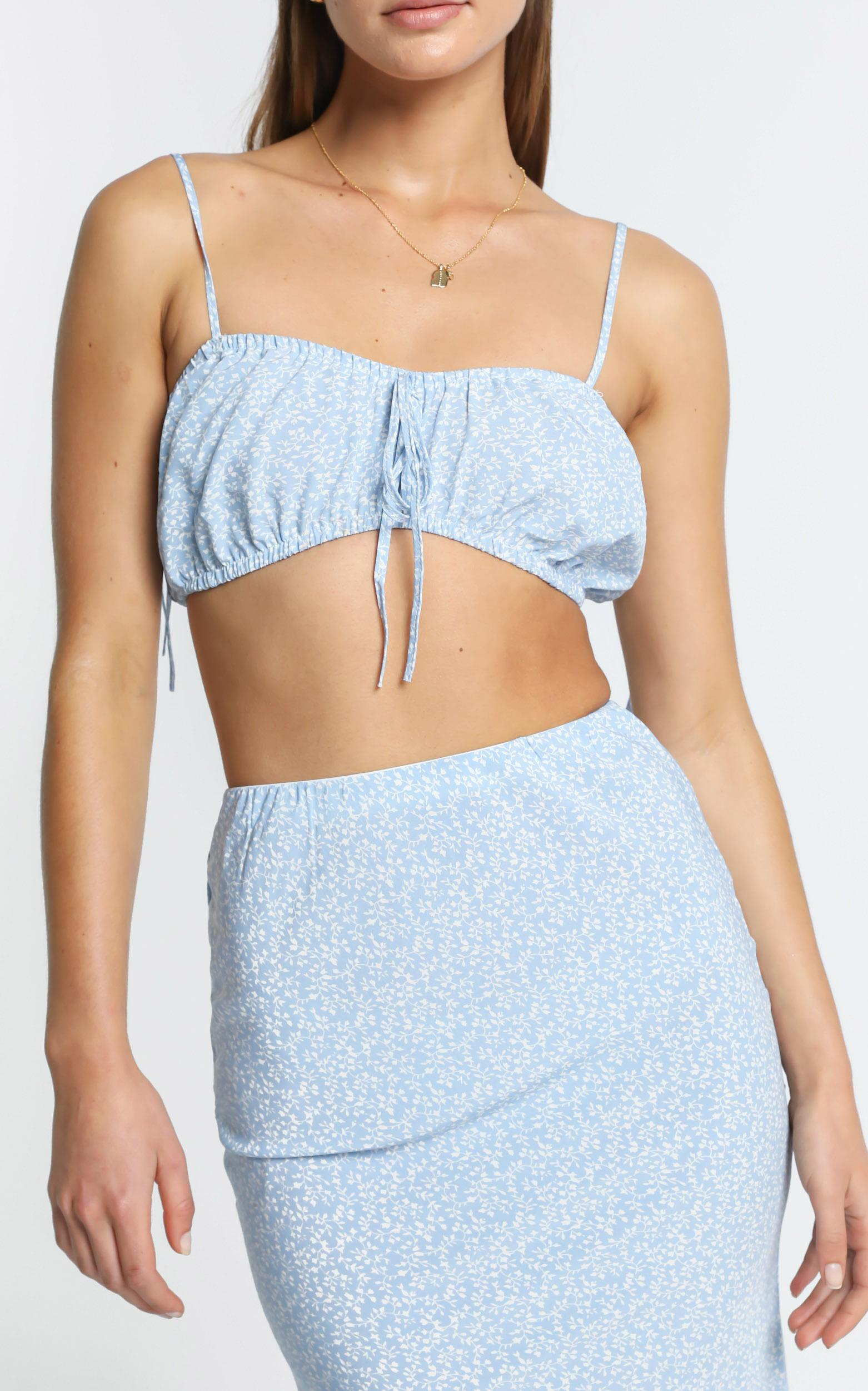 Bodhi Two Piece set in Blue Floral - 6 (XS), Blue, hi-res image number null