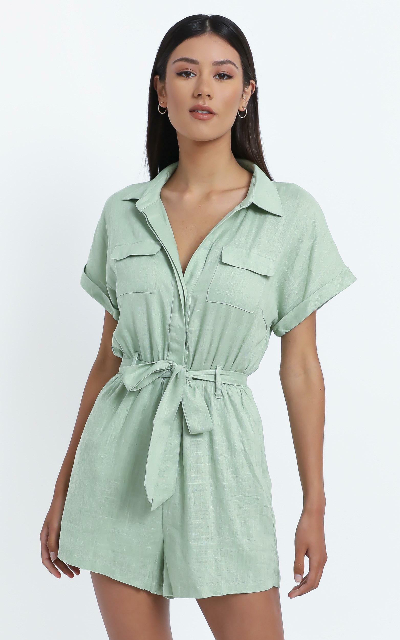 Zarina Belted Playsuit in  Light Khaki - 6 (XS), GRN1, hi-res image number null