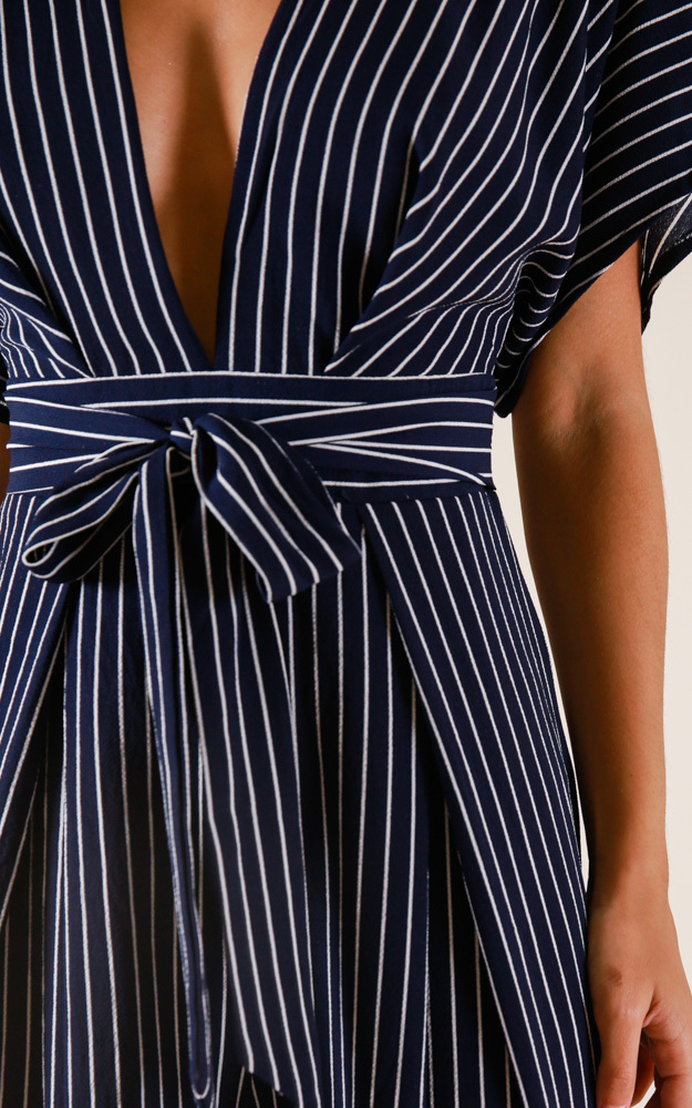 Midnight City jumpsuit in navy stripe - 14 (XL), Navy, hi-res image number null