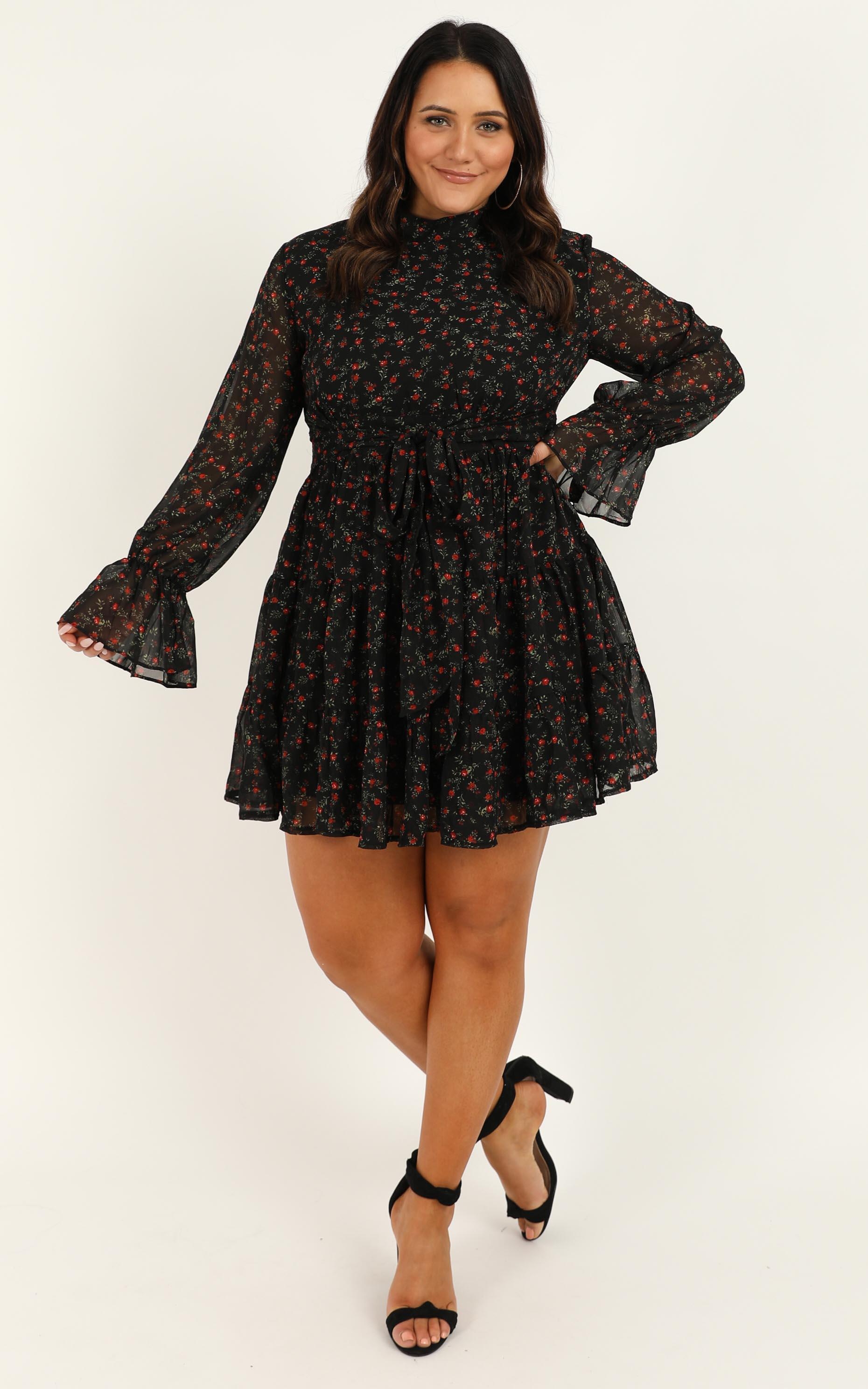 Prove Them Wrong Dress in black floral - 20 (XXXXL), Black, hi-res image number null