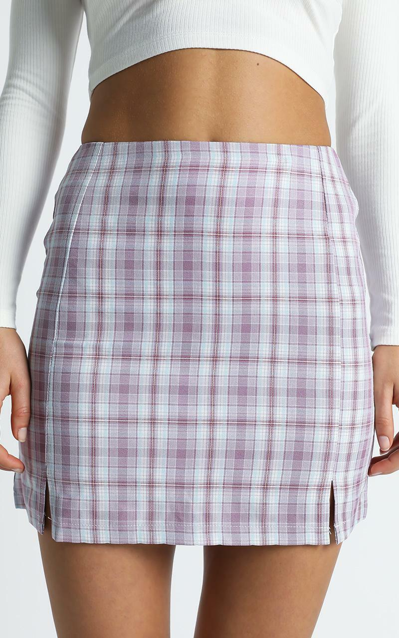 Mae Skirt in Purple Check - 8 (S), Purple, hi-res image number null