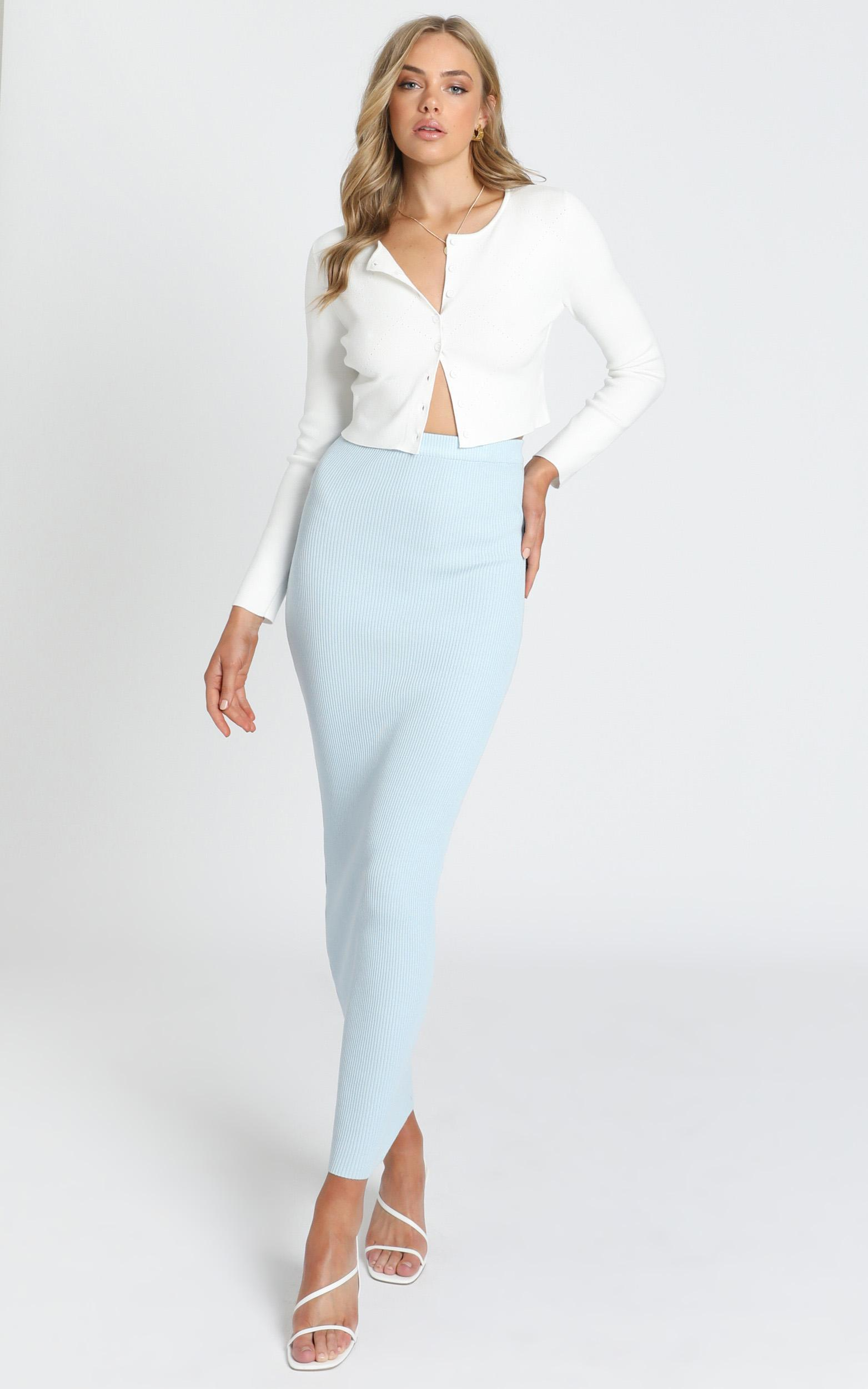 Jessie Knit Skirt in Blue - 8 (S), Blue, hi-res image number null