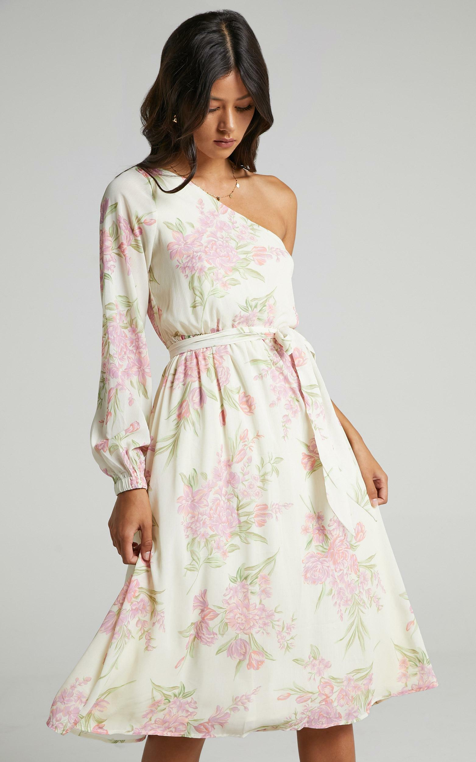 The Cerise Midi dress in Cream Floral - 06, MLT1, hi-res image number null