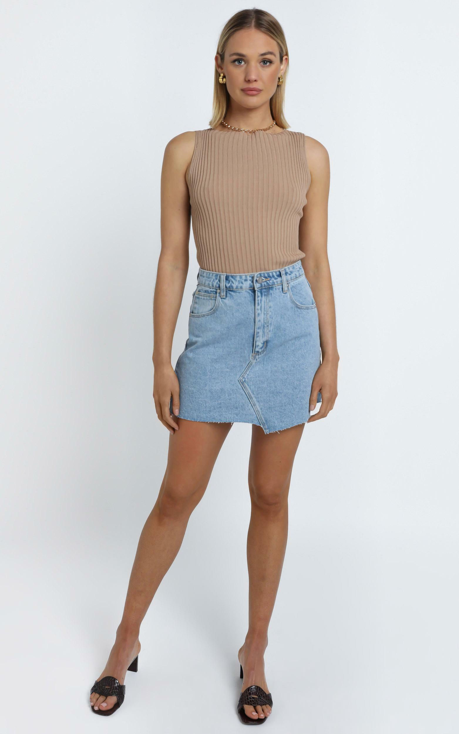 Abrand - A Aline Denim Skirt in Bleach Bomb - 14 (XL), Blue, hi-res image number null