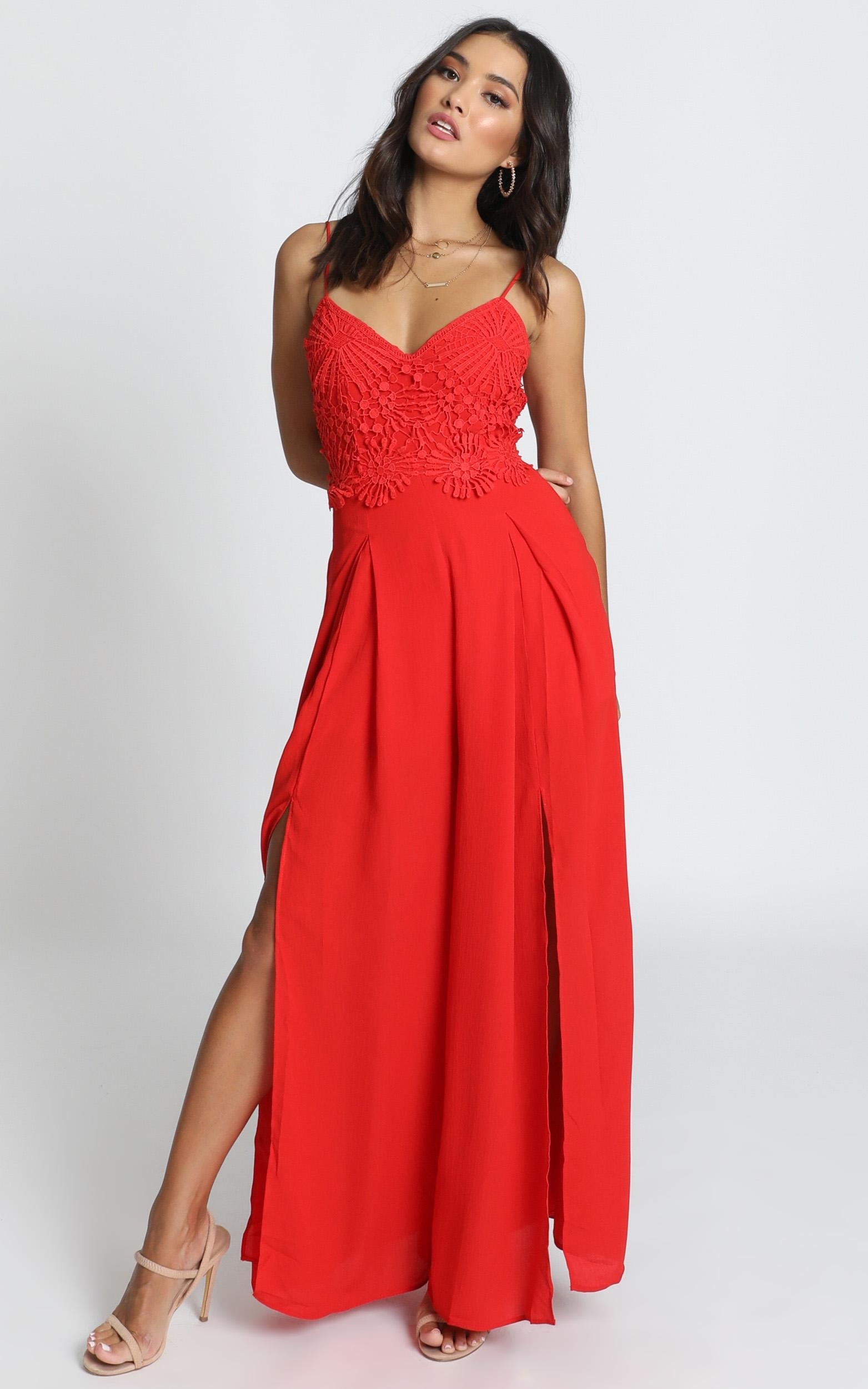 Maya Jumpsuit in red embroidery - 12 (L), Red, hi-res image number null