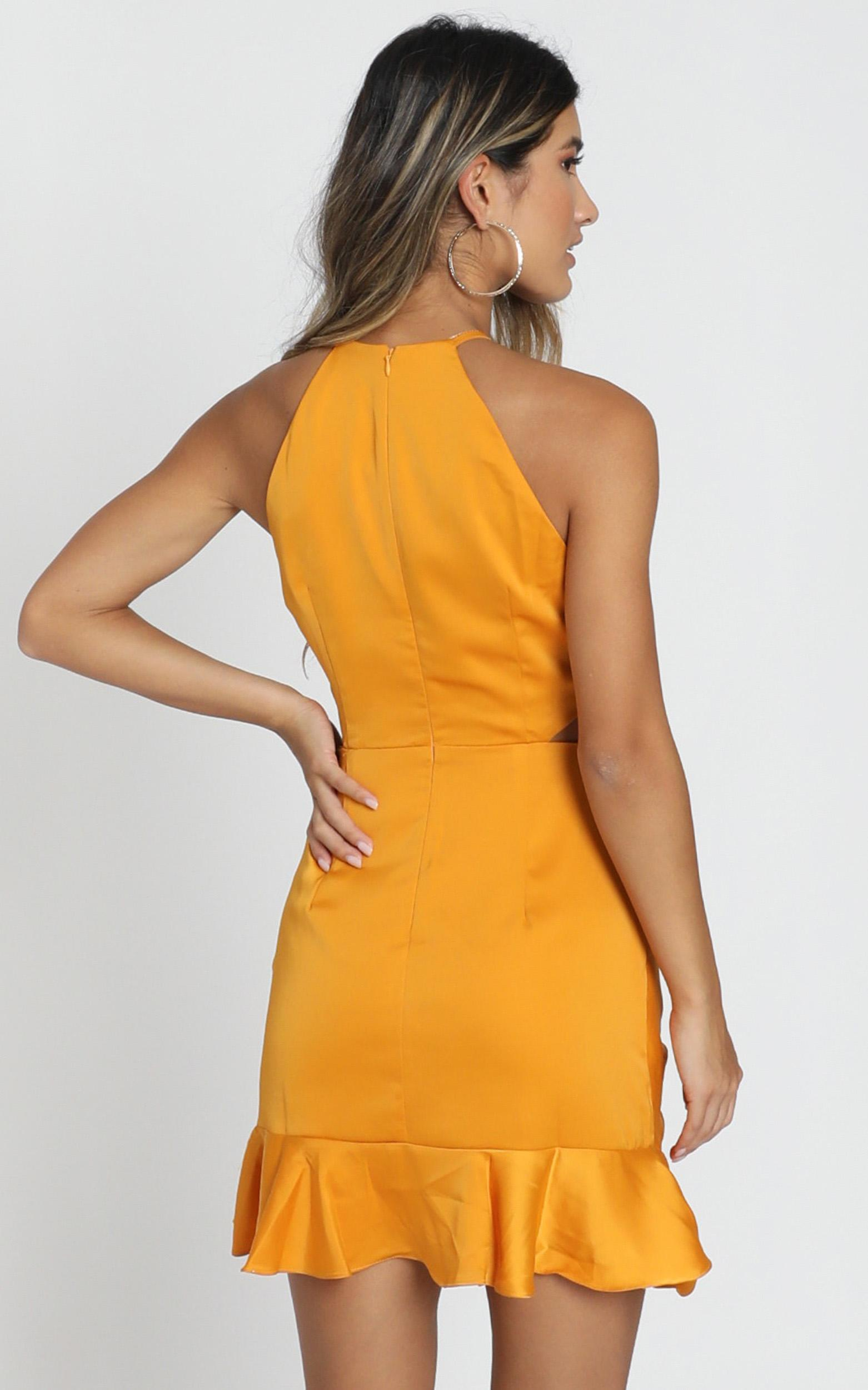 Be Humble Dress in mustard satin - 6 (XS), Mustard, hi-res image number null