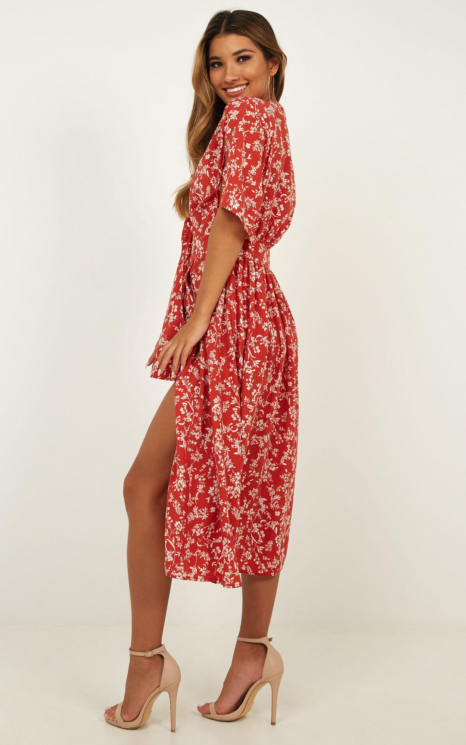 Inner Circle Only Dress In Red Floral - 4 (XXS), Red, hi-res image number null