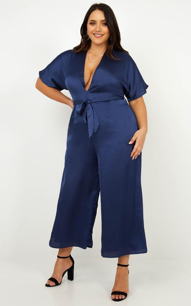Starting The Night Jumpsuit in navy satin - 14 (XL), Navy, hi-res image number null