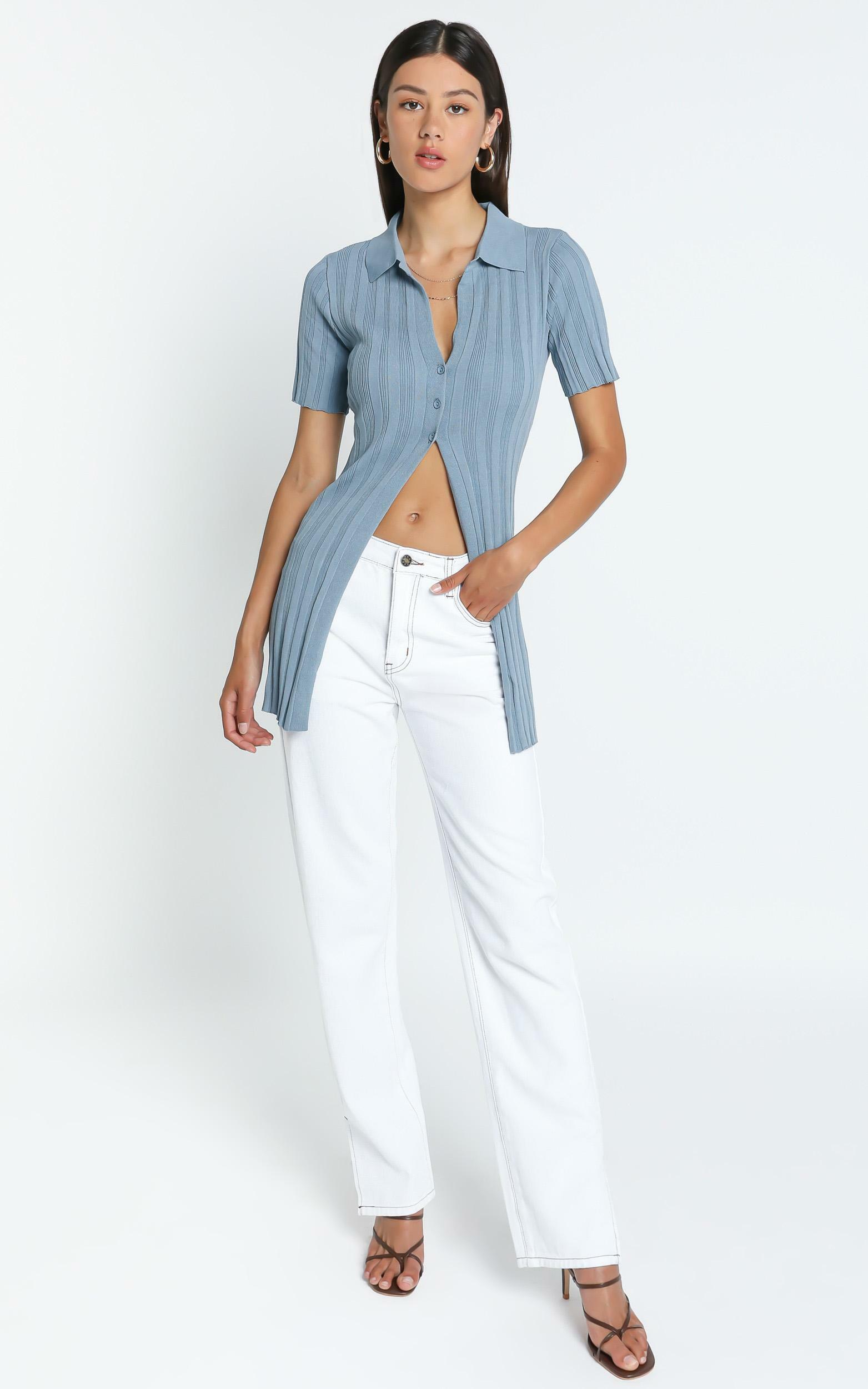 Lioness - Silverlake Cardi Top in Dusty Blue - 4 (XXS), BLU1, hi-res image number null