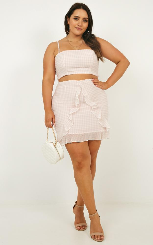 Likeminded Two Piece Set in beige gingham - 20 (XXXXL), Beige, hi-res image number null