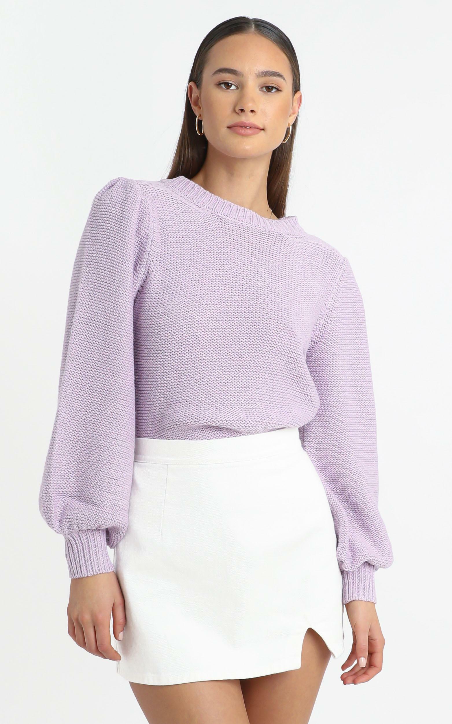 Safia Knit Jumper in Lilac - 12 (L), Purple, hi-res image number null