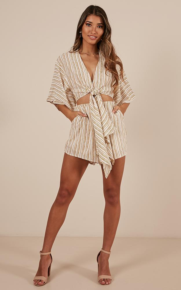 Say It Out Loud playsuit in mustard stripe - 12 (L), Mustard, hi-res image number null