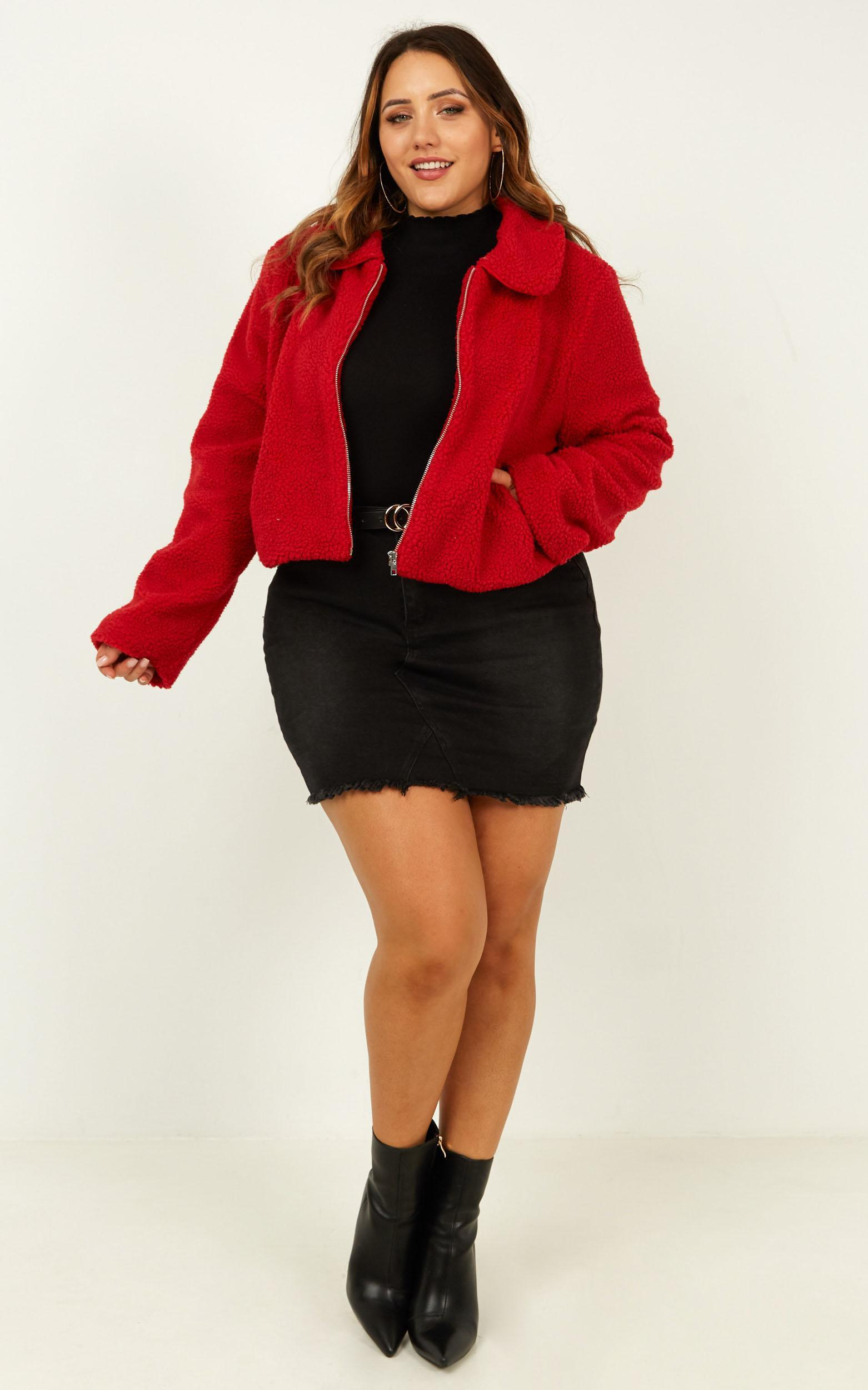 Forever Cuddling Jacket In Red Teddy - 16 (XXL), Red, hi-res image number null