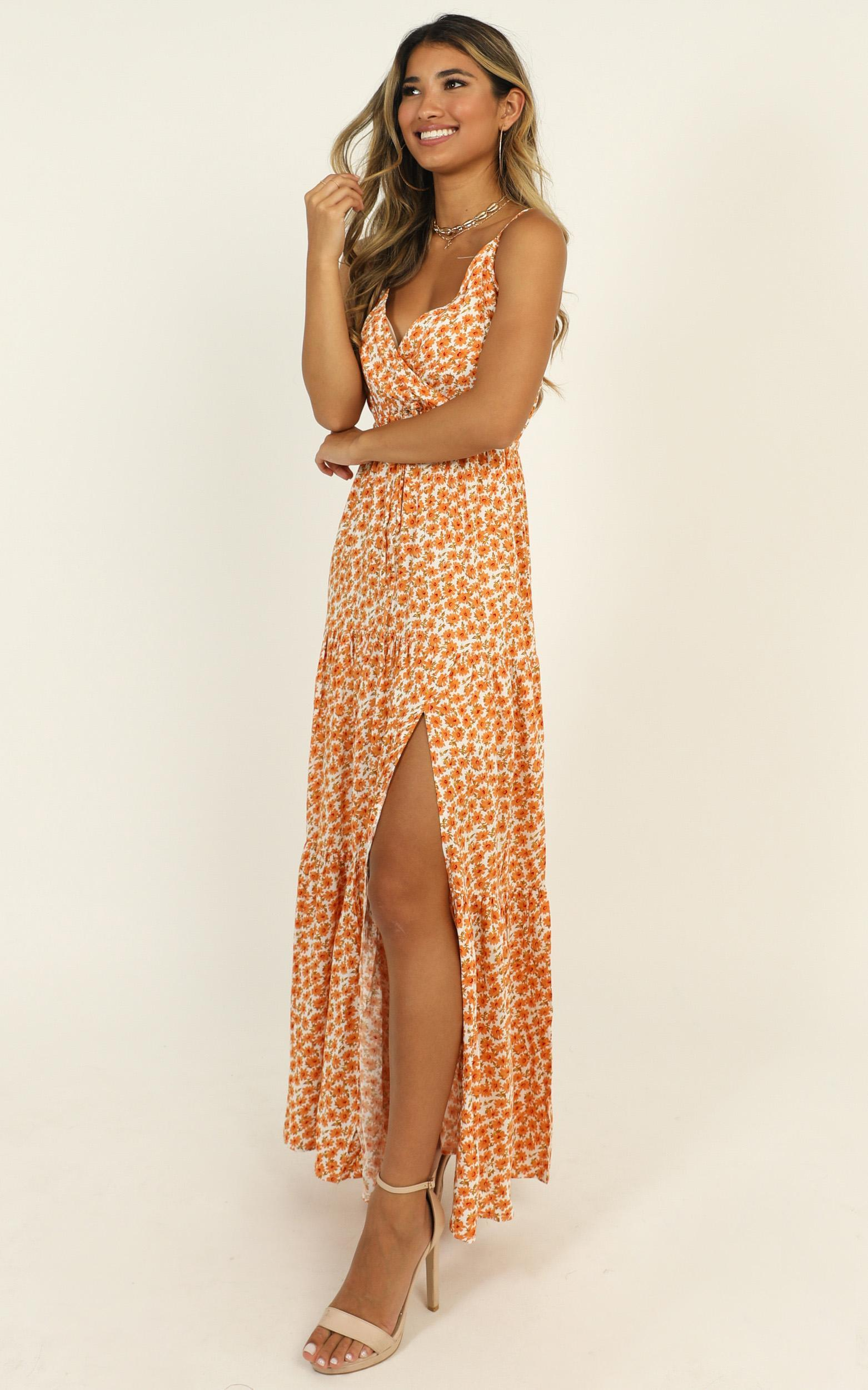 Watch The Sunset dress in orange floral - 16 (XXL), Orange, hi-res image number null