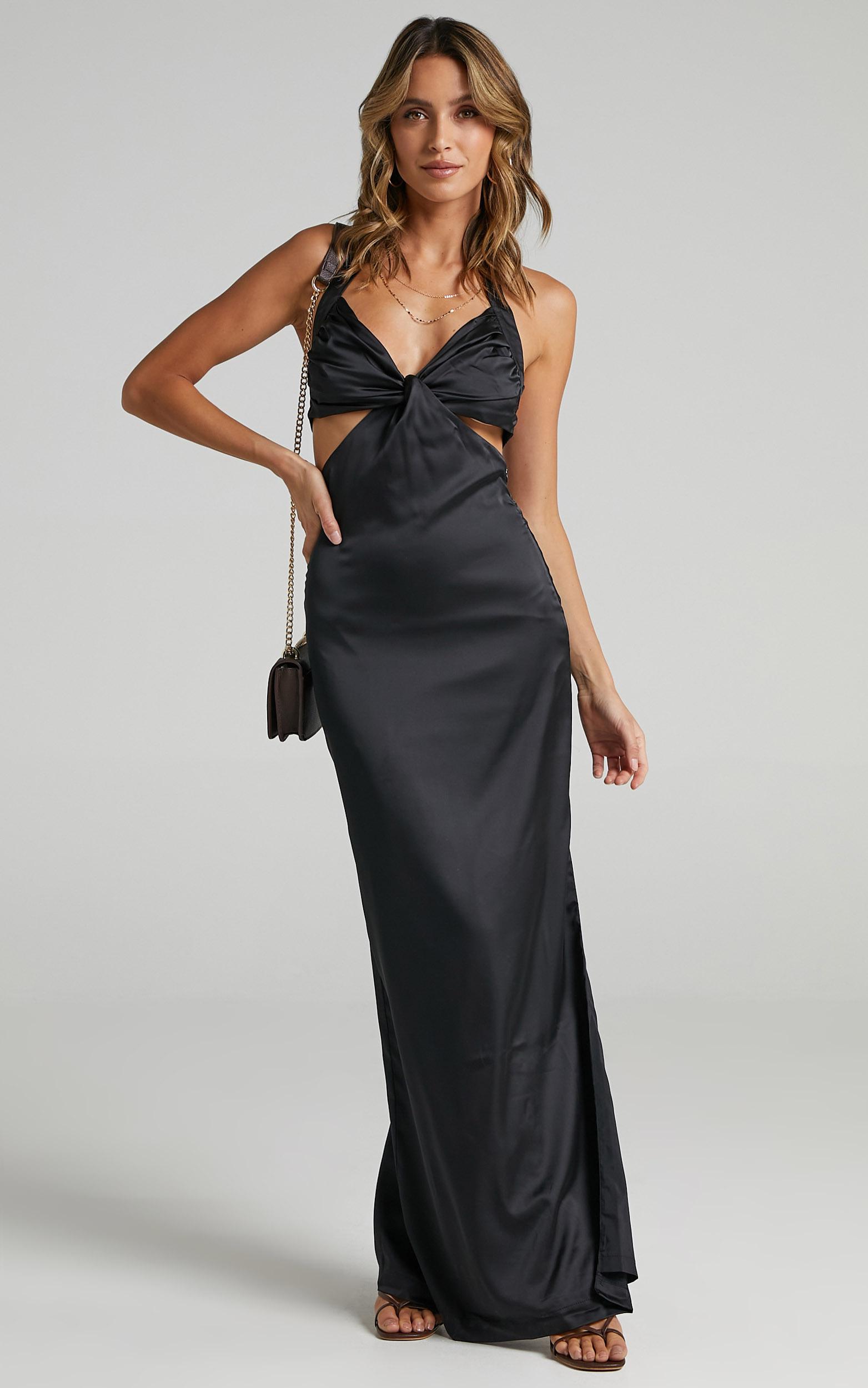Maat Dress in Black Satin - 06, BLK1, hi-res image number null