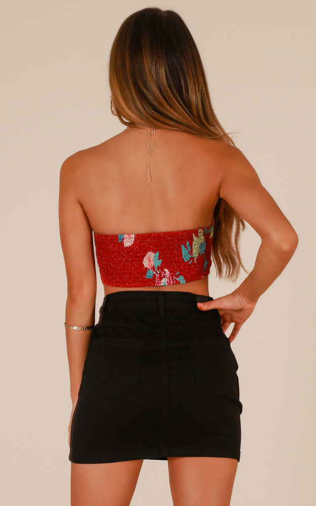 Knot Today crop top in red floral - 6 (XS), Red, hi-res image number null