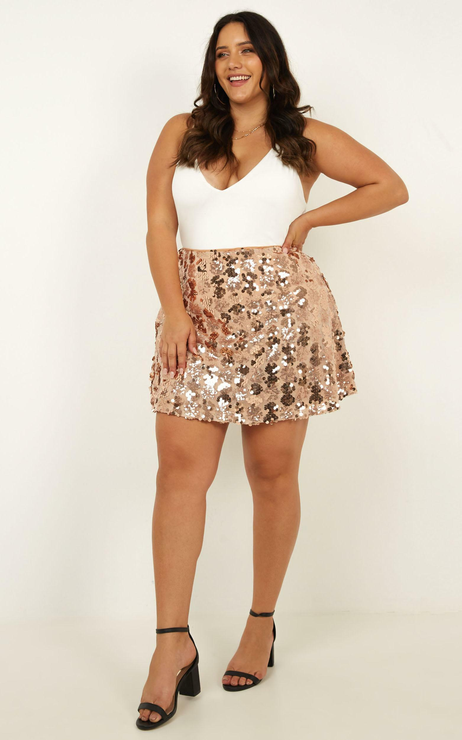 Whats Right Skirt in Rose Gold Sequin - 20 (XXXXL), Rose Gold, hi-res image number null