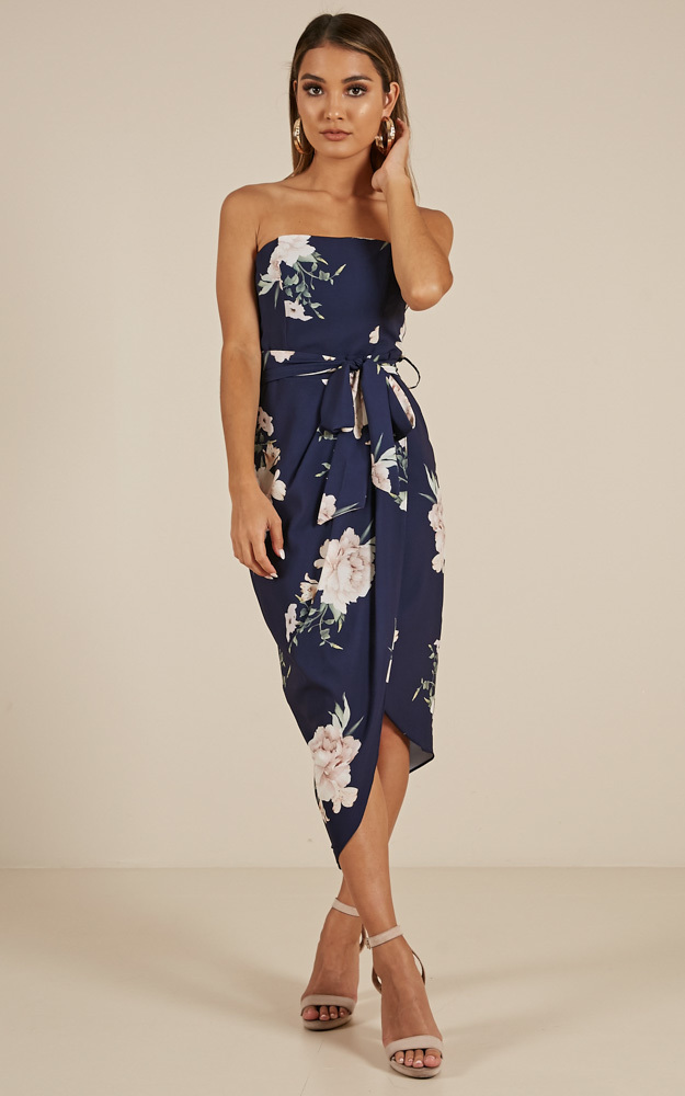 State Of Mind Dress In Navy Floral  - 16 (XXL), Navy, hi-res image number null