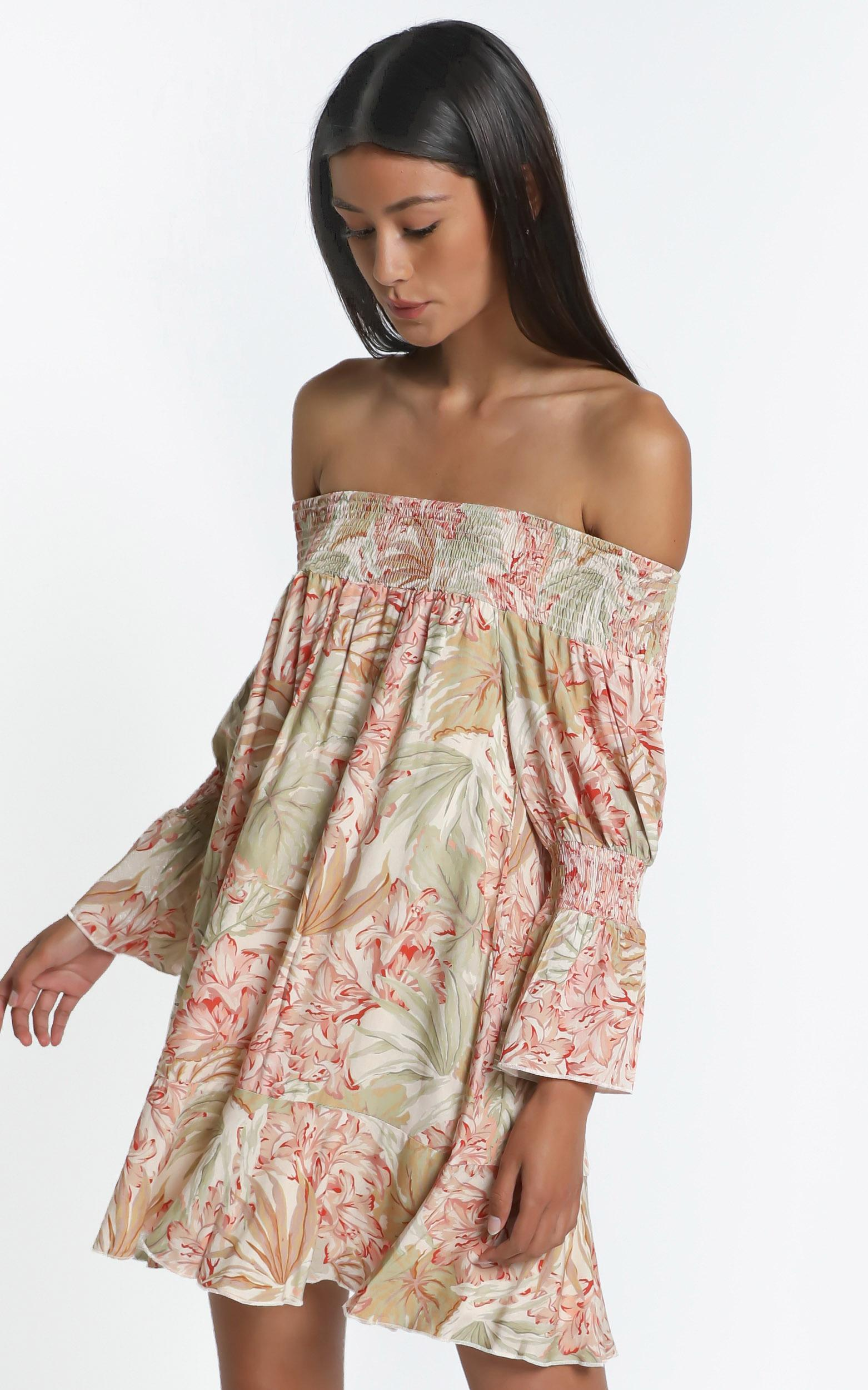 Carrie Dress in Palm Print - 6 (XS), Khaki, hi-res image number null