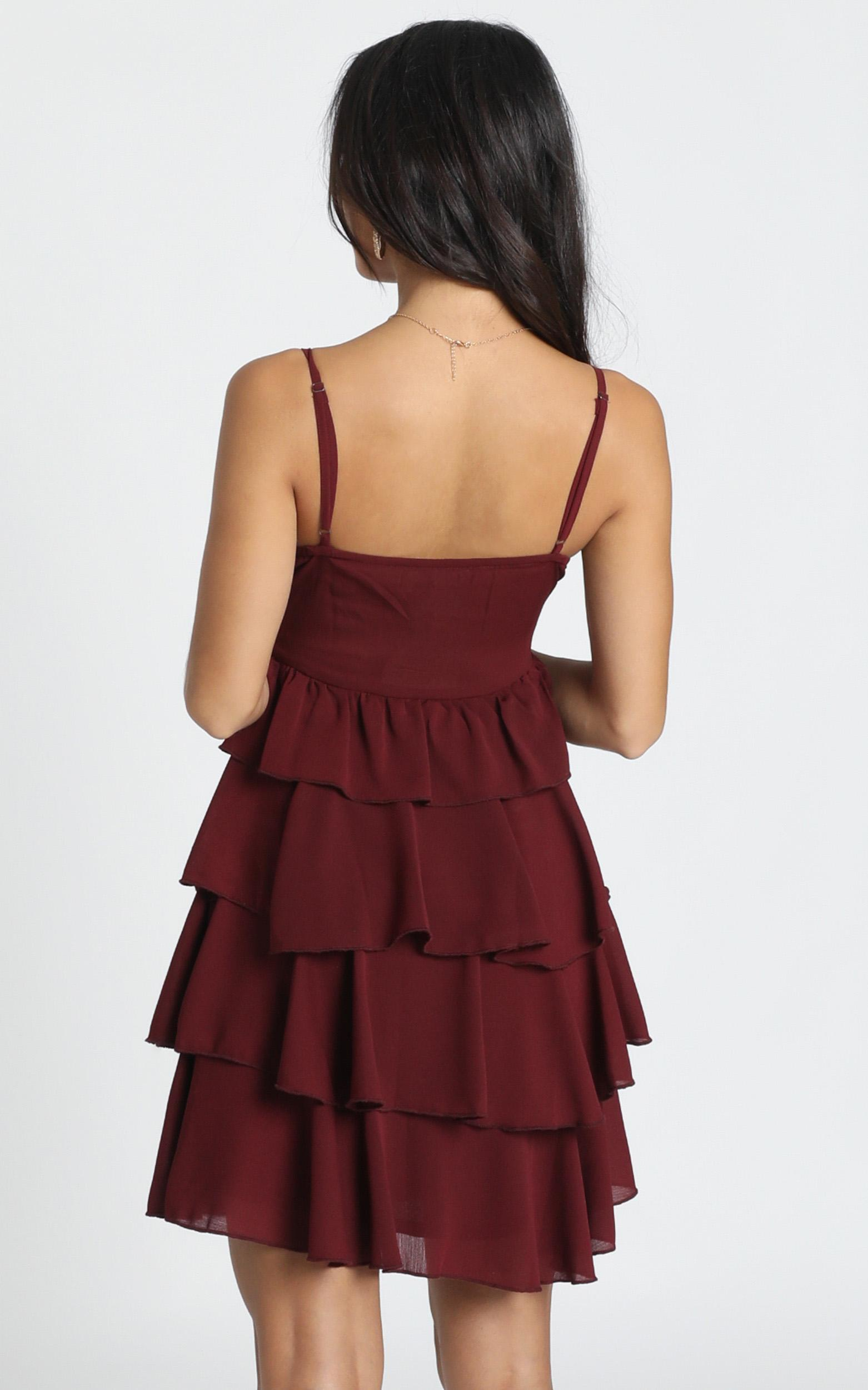 Pippy Layered Mini Dress in wine - 12 (L), Wine, hi-res image number null