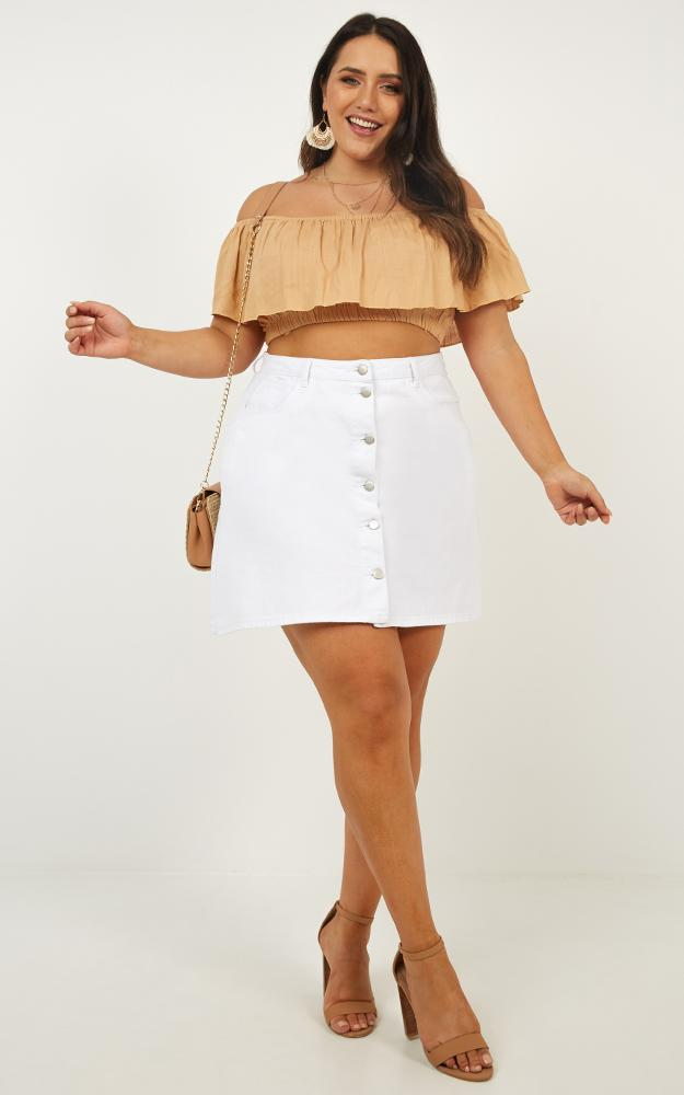 Flouncing Top in tan linen look - 12 (L), Tan, hi-res image number null