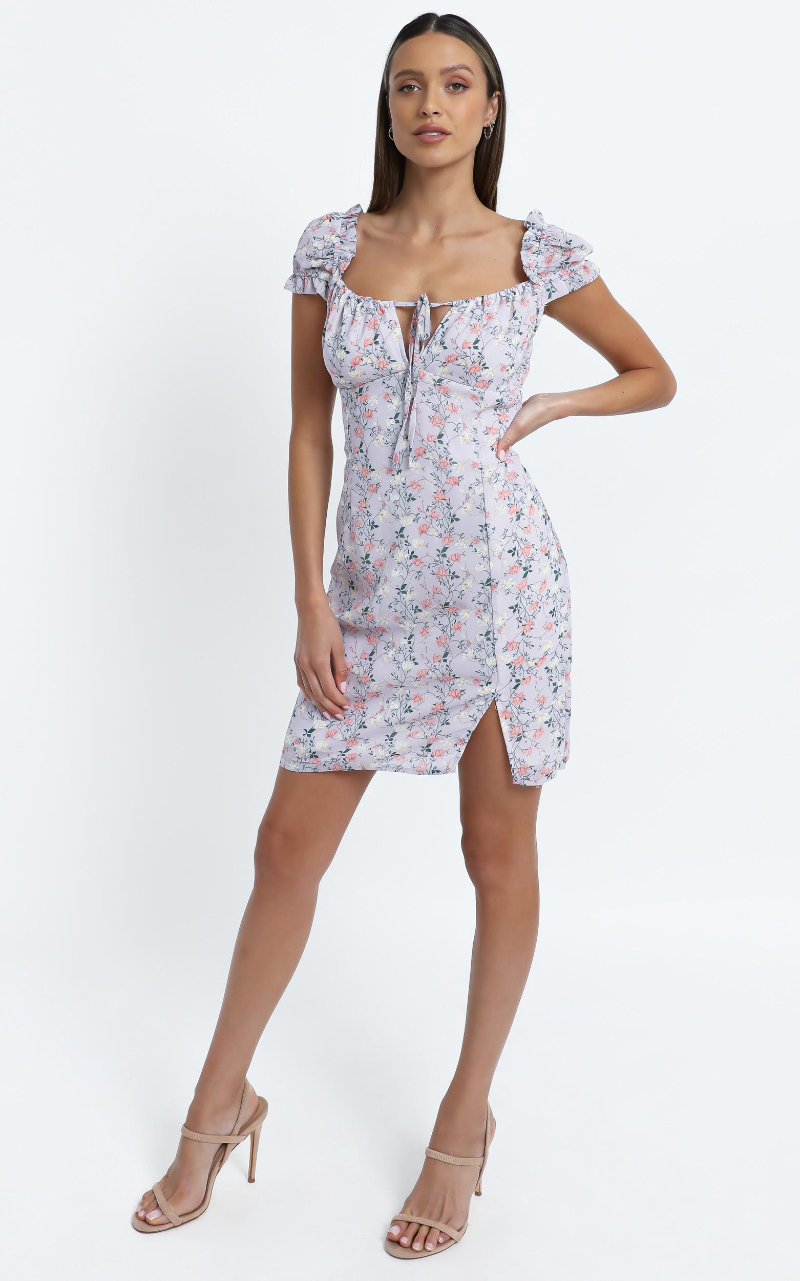 Chadwick Dress in Lilac Floral - 14 (XL), Purple, hi-res image number null