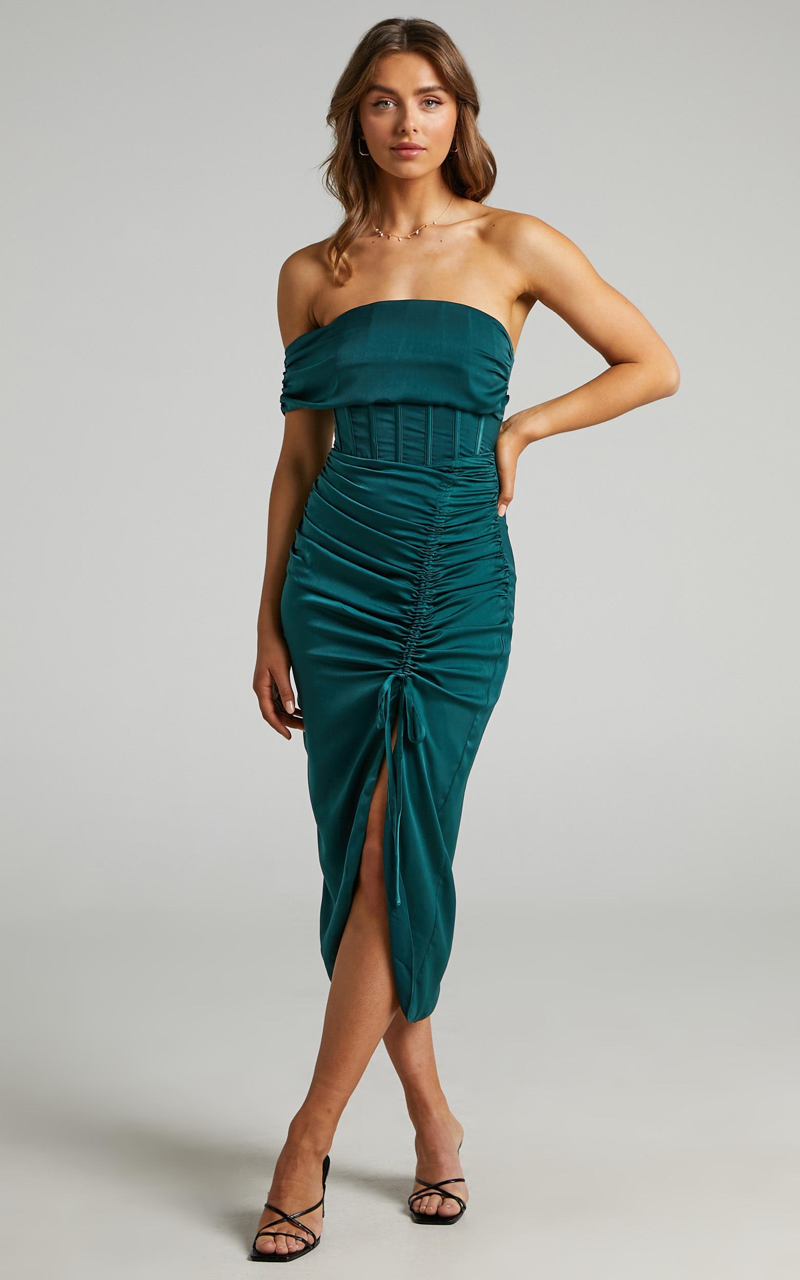 Hawk Corset Off Shoulder Dress in Emerald - 04, GRN1, hi-res image number null