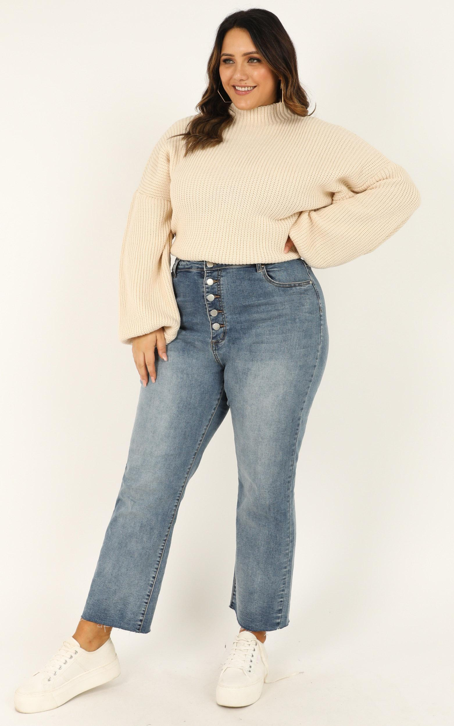 I Feel Love Oversized Knit Jumper In Cream, CRE1, hi-res image number null