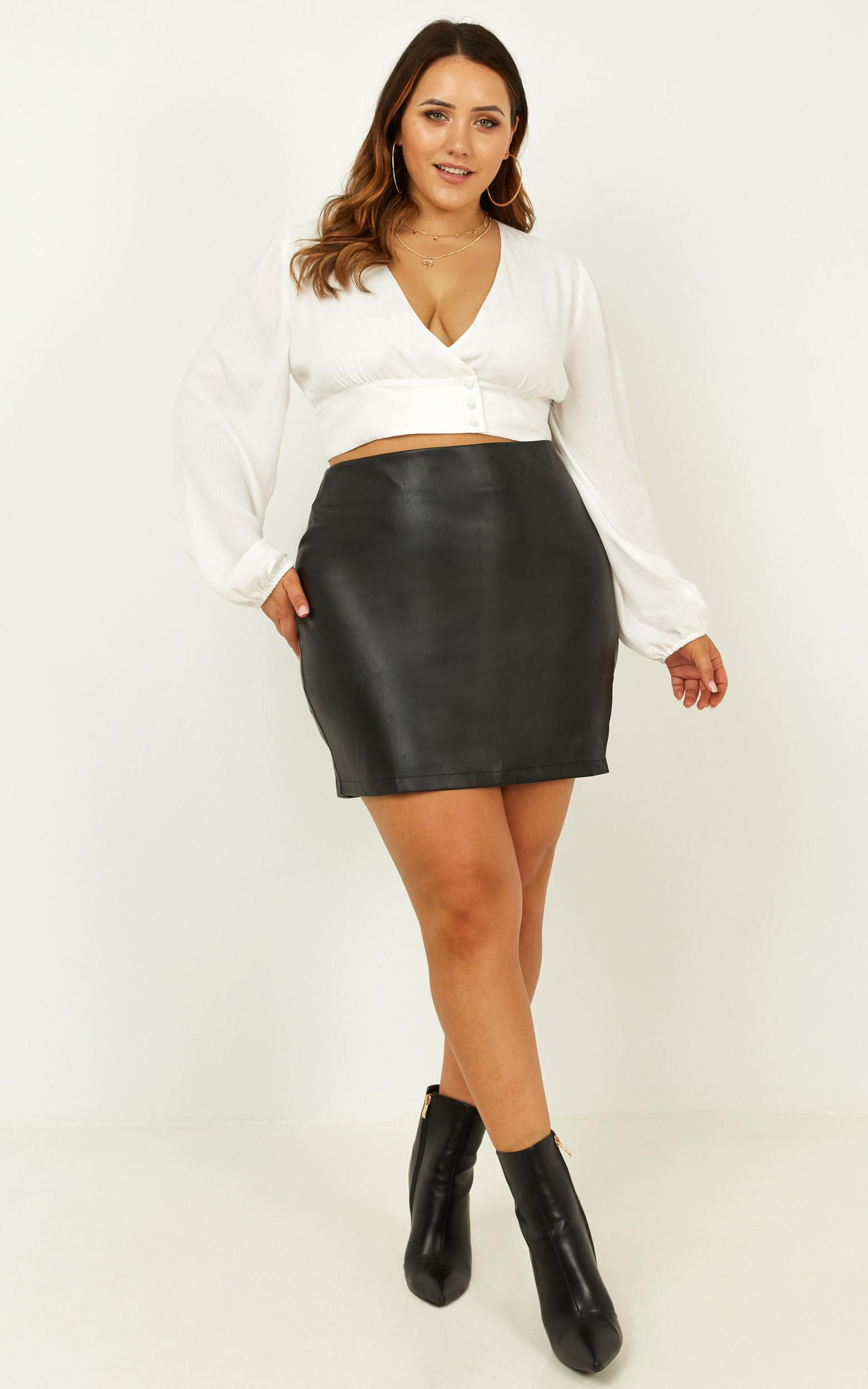 In The Name Of Love Skirt In Black Leatherette - 8 (S), Black, hi-res image number null