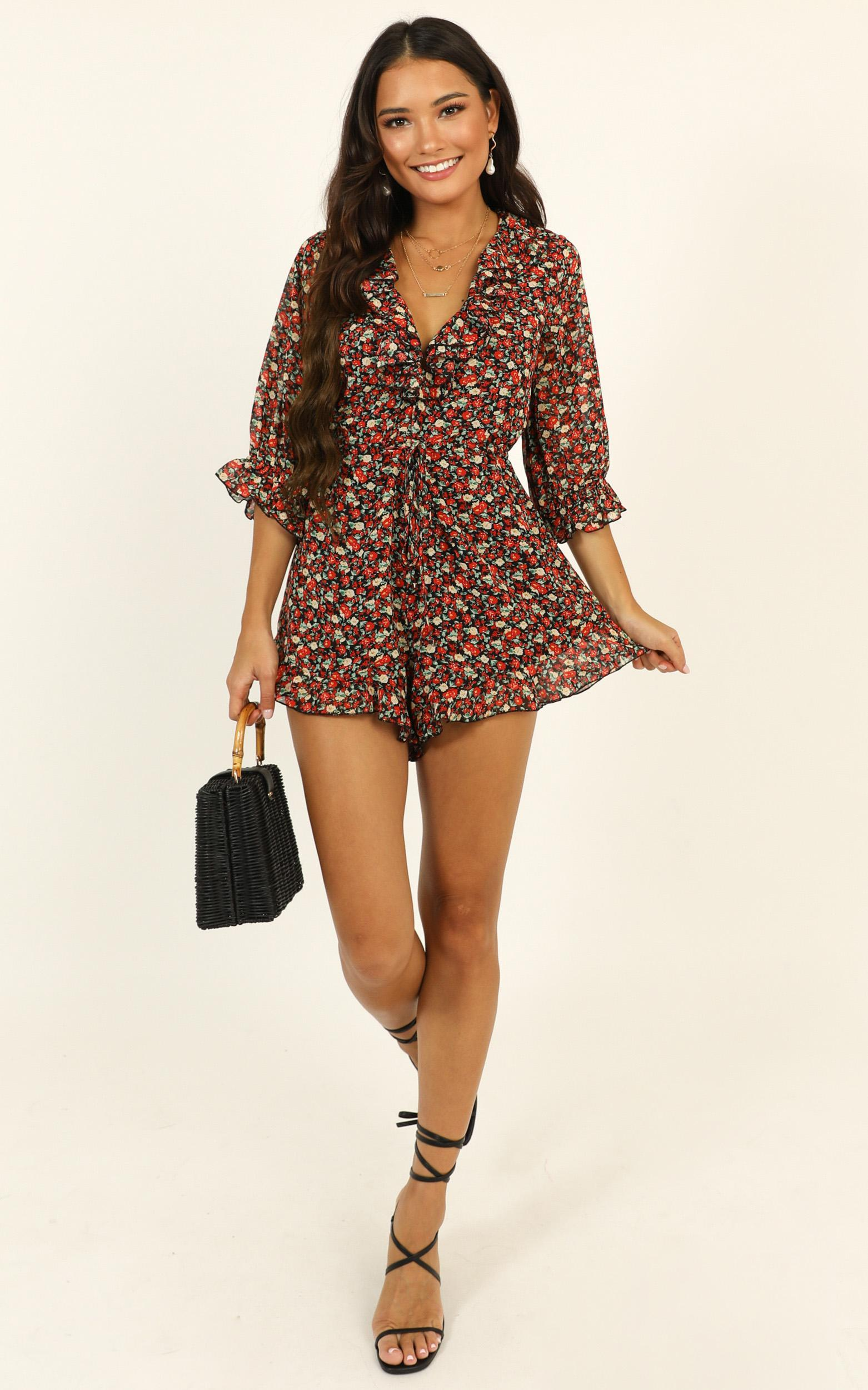 Full of Life Playsuit in black floral - 20 (XXXXL), Black, hi-res image number null