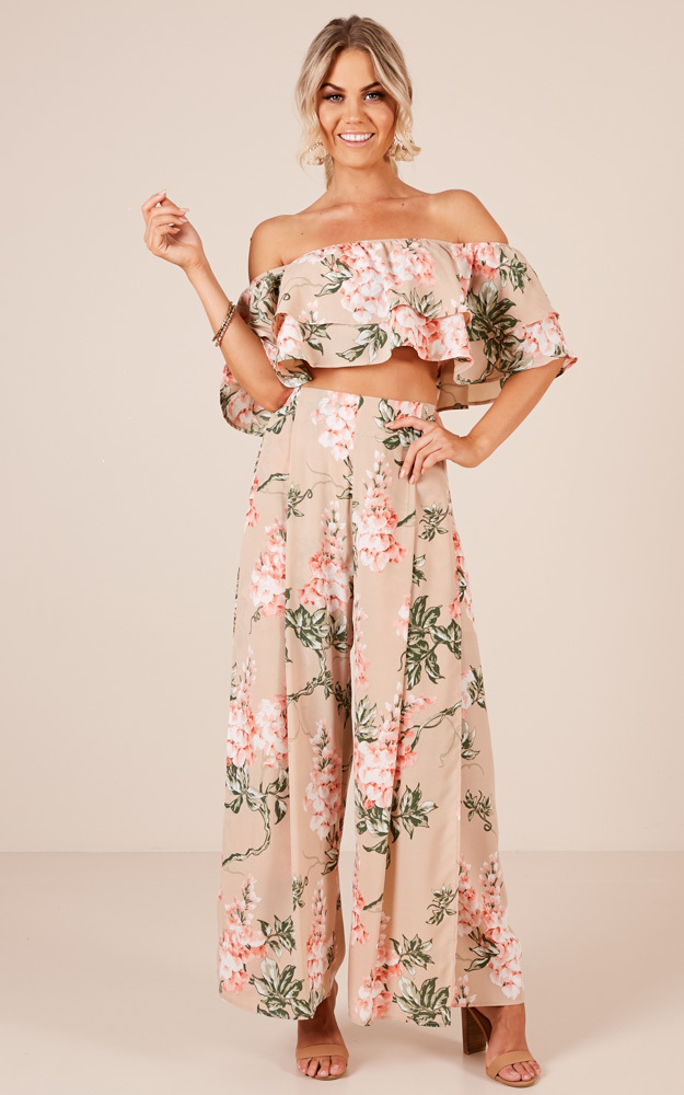 Here With Me two piece set in beige floral - 20 (XXXXL), Beige, hi-res image number null