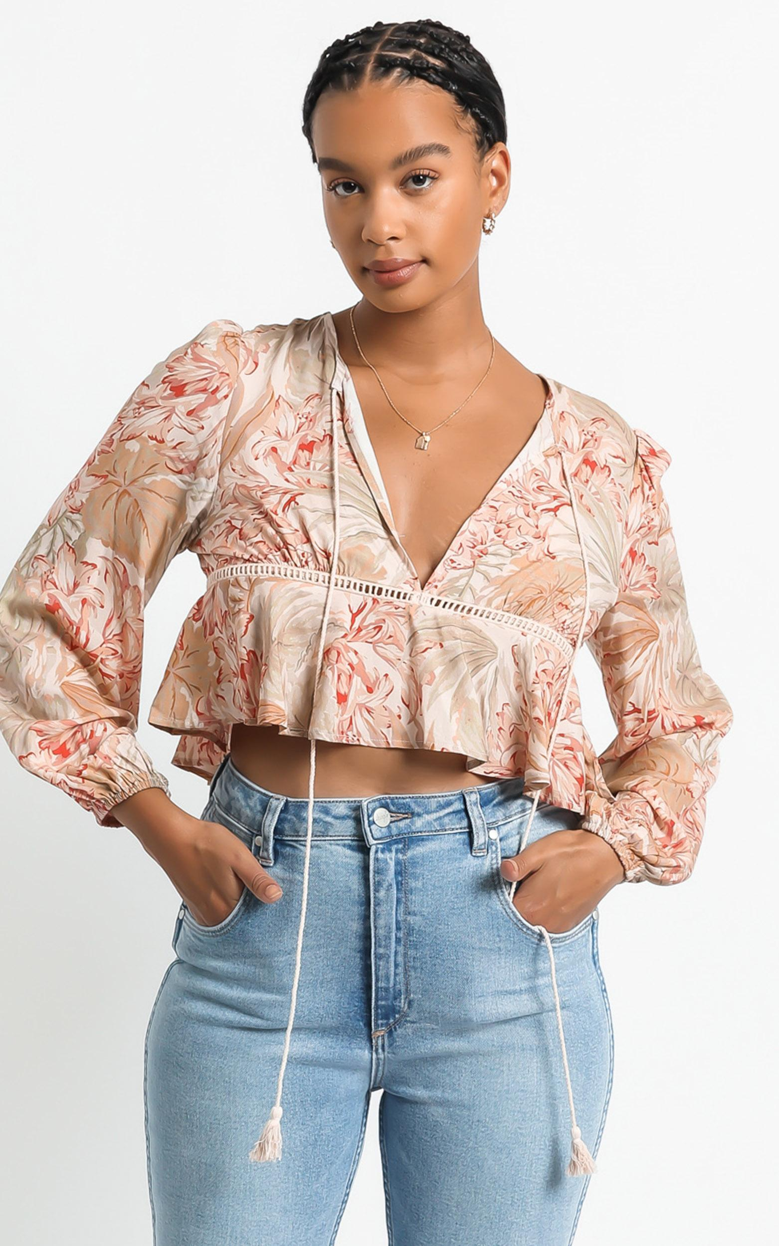 Gretchen Top in Palm Print - 6 (XS), Khaki, hi-res image number null