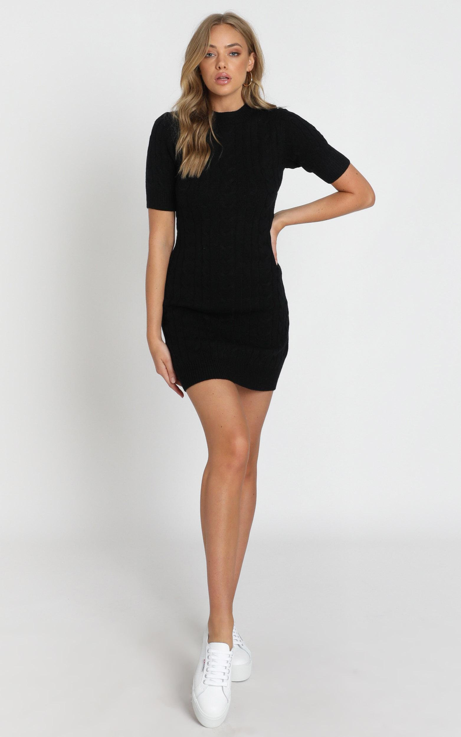 Winter Vacay Cable Knit Dress in black - 20 (XXXXL), Black, hi-res image number null