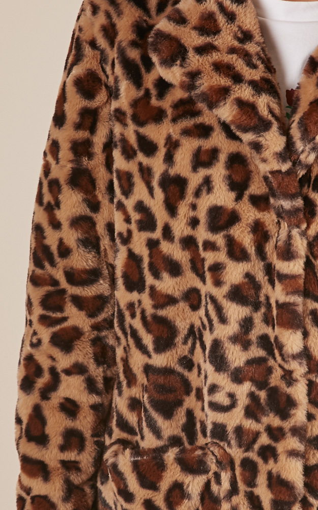 Thats The Trouble coat in leopard print - 16 (XXL), Brown, hi-res image number null