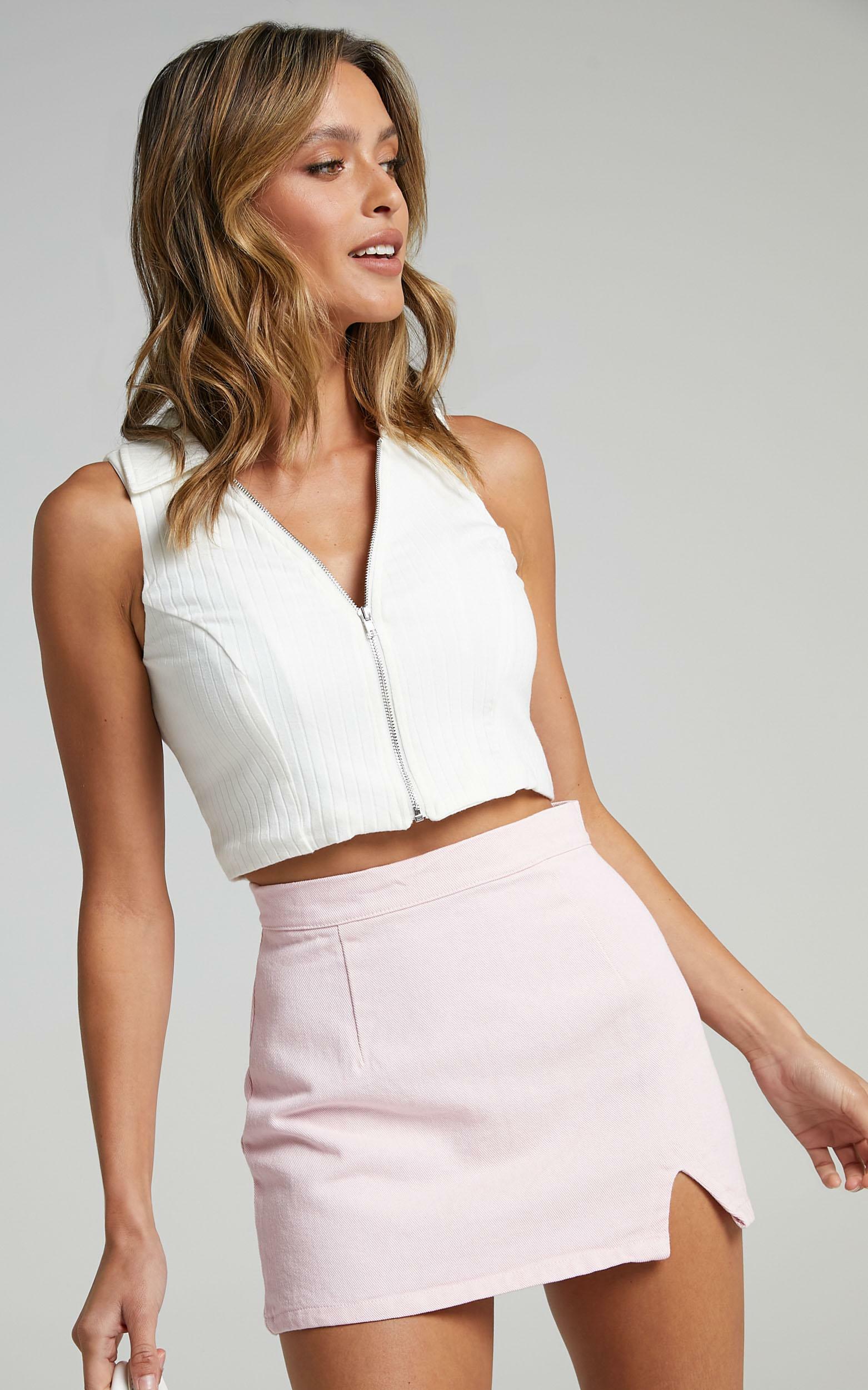 Berri Denim Skirt in Pink - 12 (L), Pink, hi-res image number null