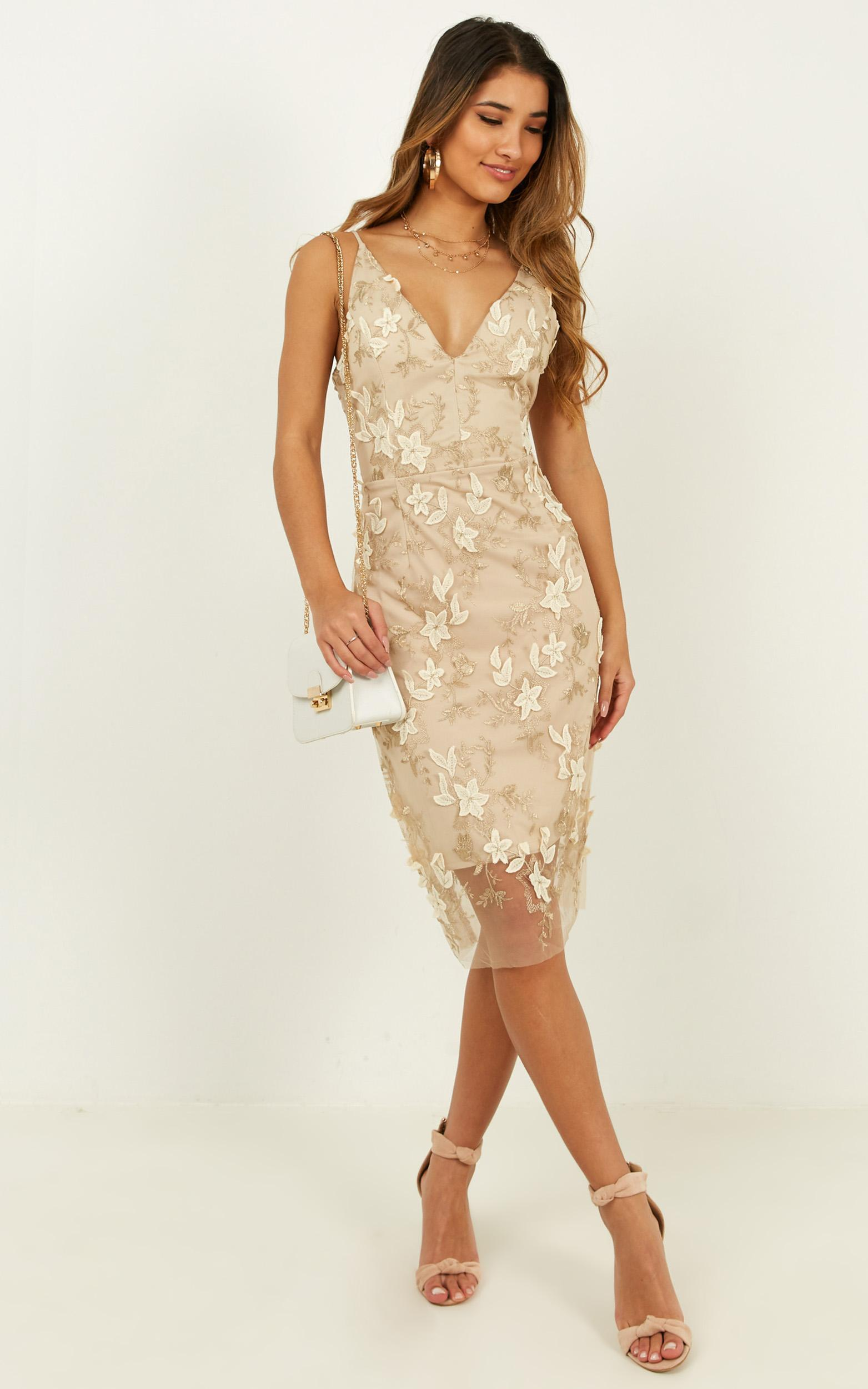 Look Over Here dress in gold floral - 12 (L), Gold, hi-res image number null