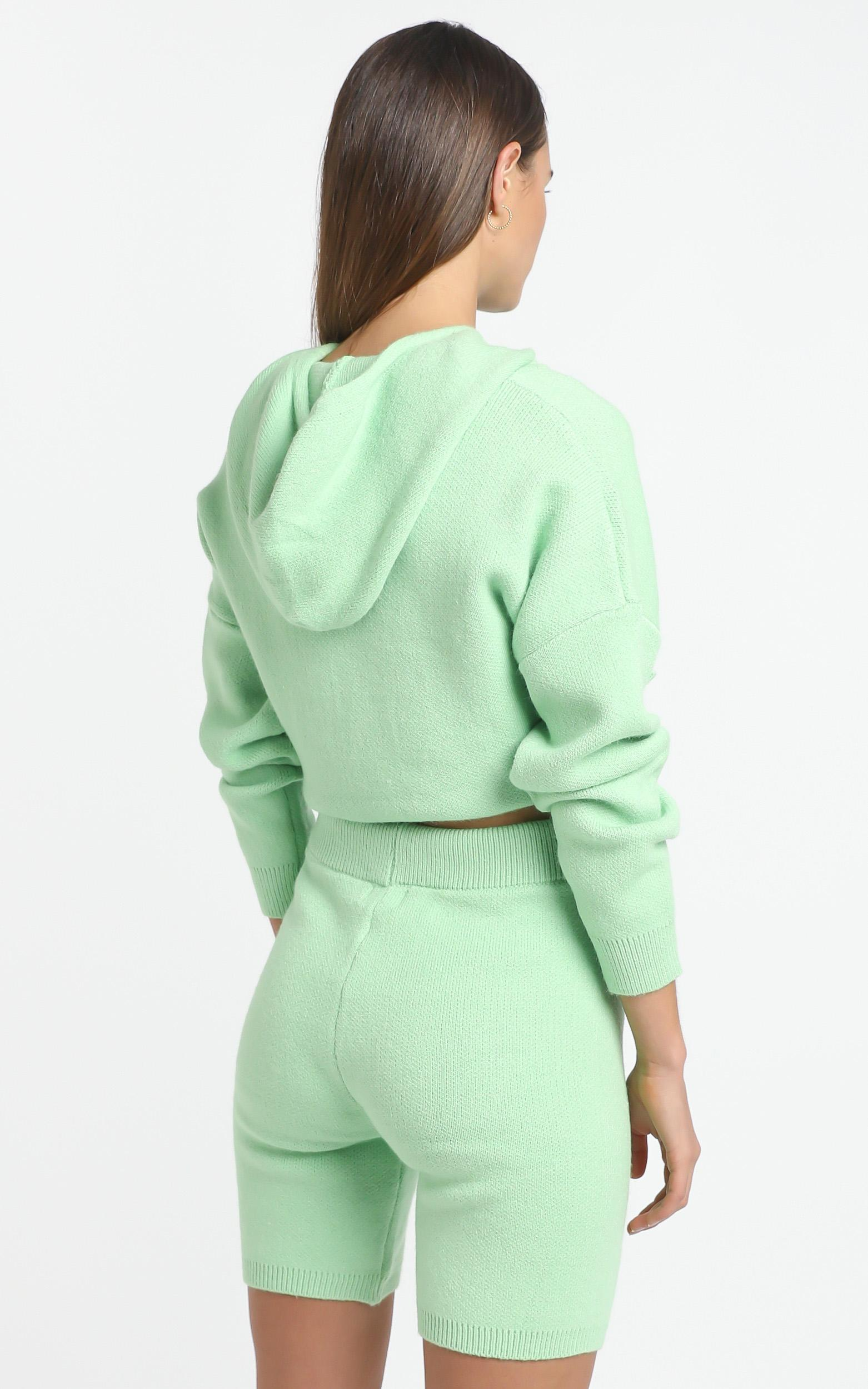 Cosy Club Knit Hoody in Mint - 12 (L), Green, hi-res image number null